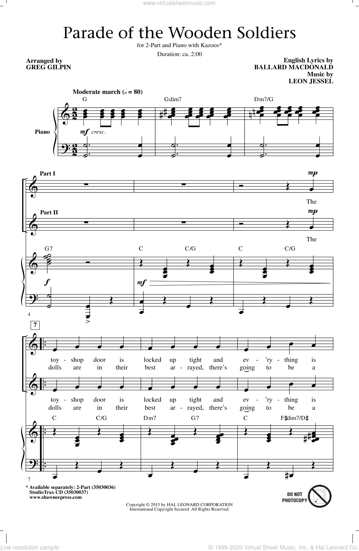 Parade Of The Wooden Soldiers sheet music for choir (duets) by Greg Gilpin, Ballard MacDonald and Leon Jessel. Score Image Preview.