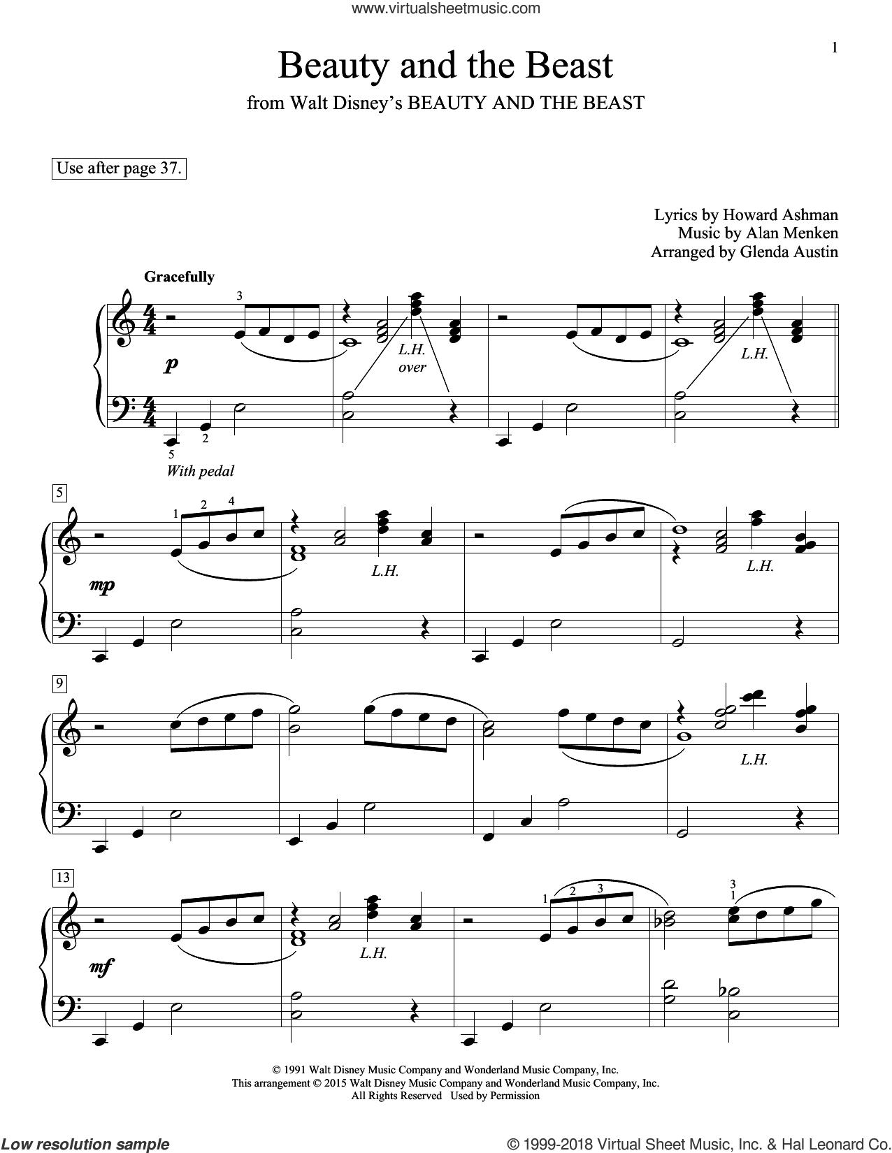 Beauty And The Beast sheet music for piano solo (elementary) by Alan Menken, Glenda Austin, John Thompson, Celine Dion & Peabo Bryson, Eric Baumgartner and Howard Ashman, beginner piano (elementary)