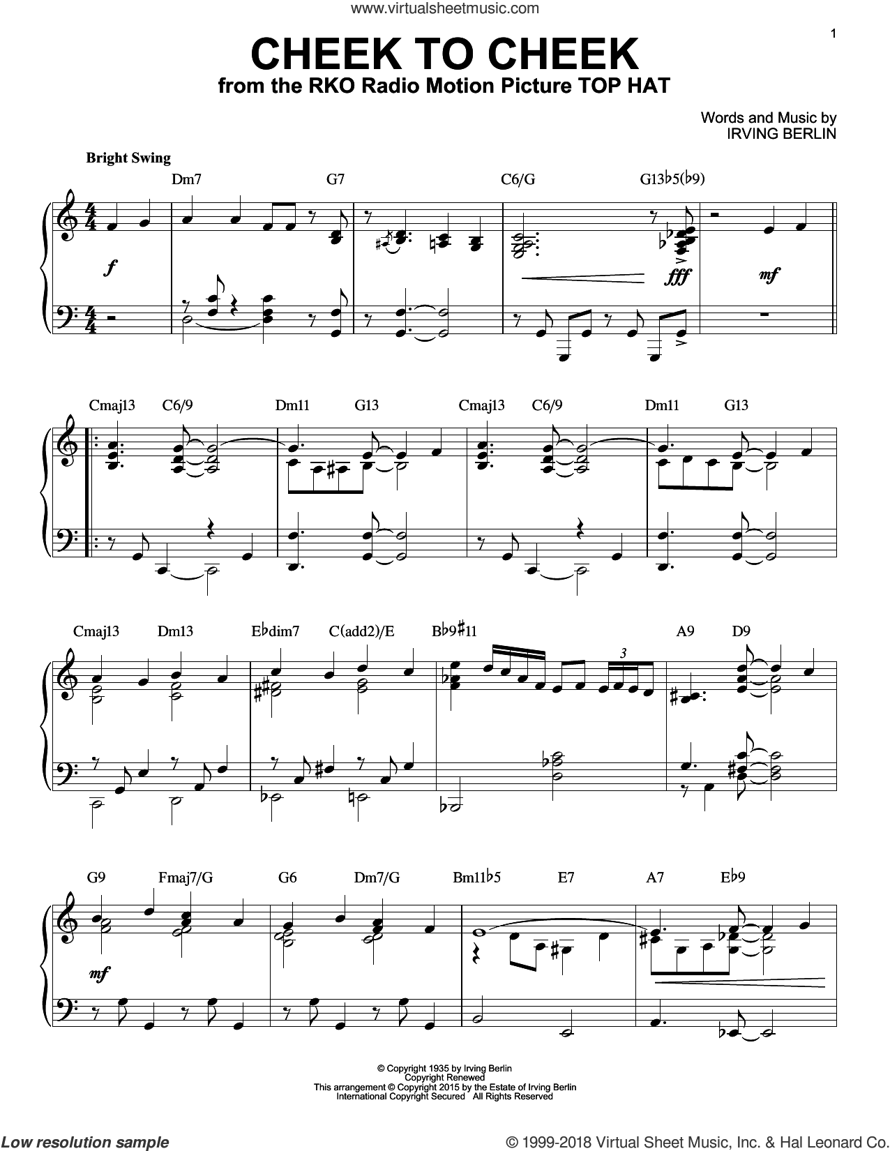 Cheek To Cheek [Jazz version] (arr. Brent Edstrom) sheet music for piano solo by Irving Berlin and Fred Astaire, intermediate skill level