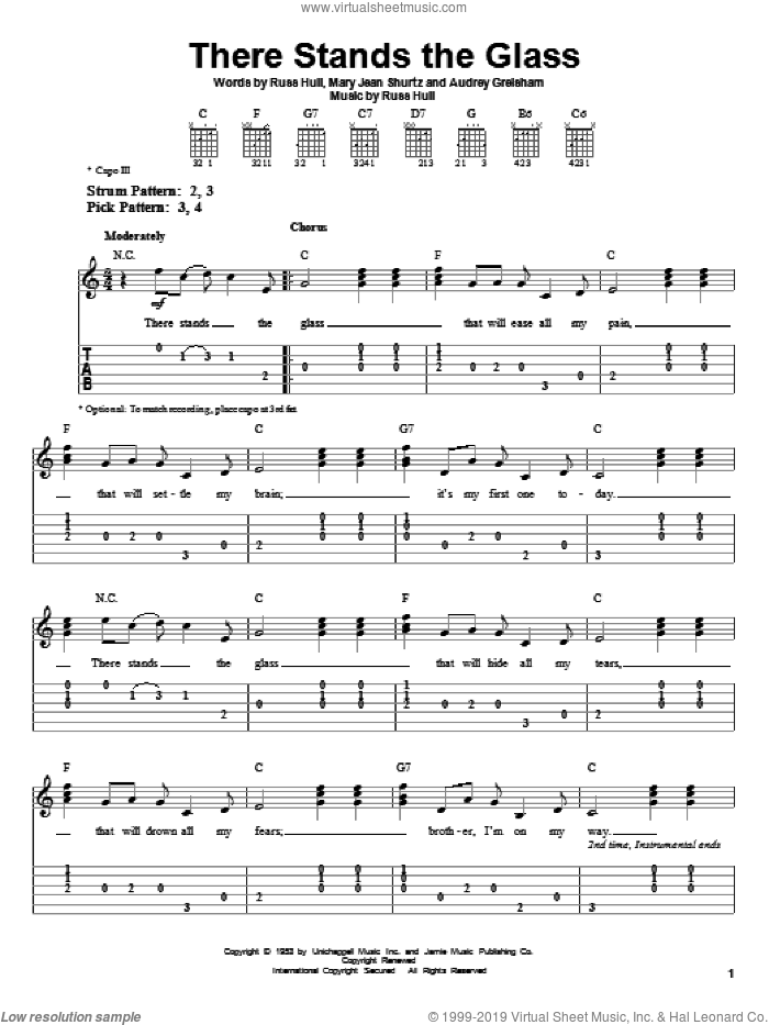 There Stands The Glass sheet music for guitar solo (easy tablature) by Russ Hull