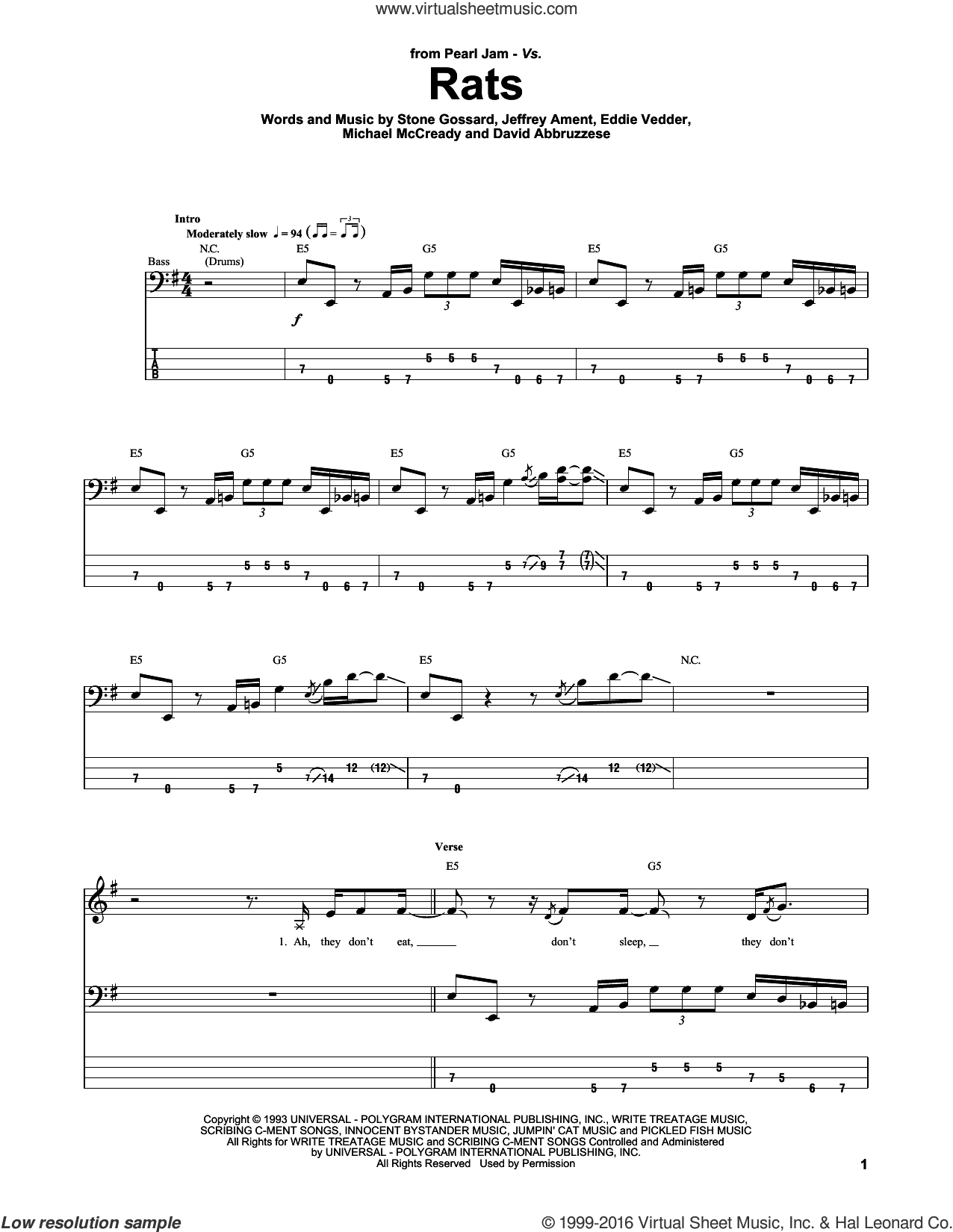 Rats sheet music for bass (tablature) (bass guitar) by Pearl Jam, David Abbruzzese, Eddie Vedder, Jeffrey Ament, Michael McCready and Stone Gossard, intermediate. Score Image Preview.