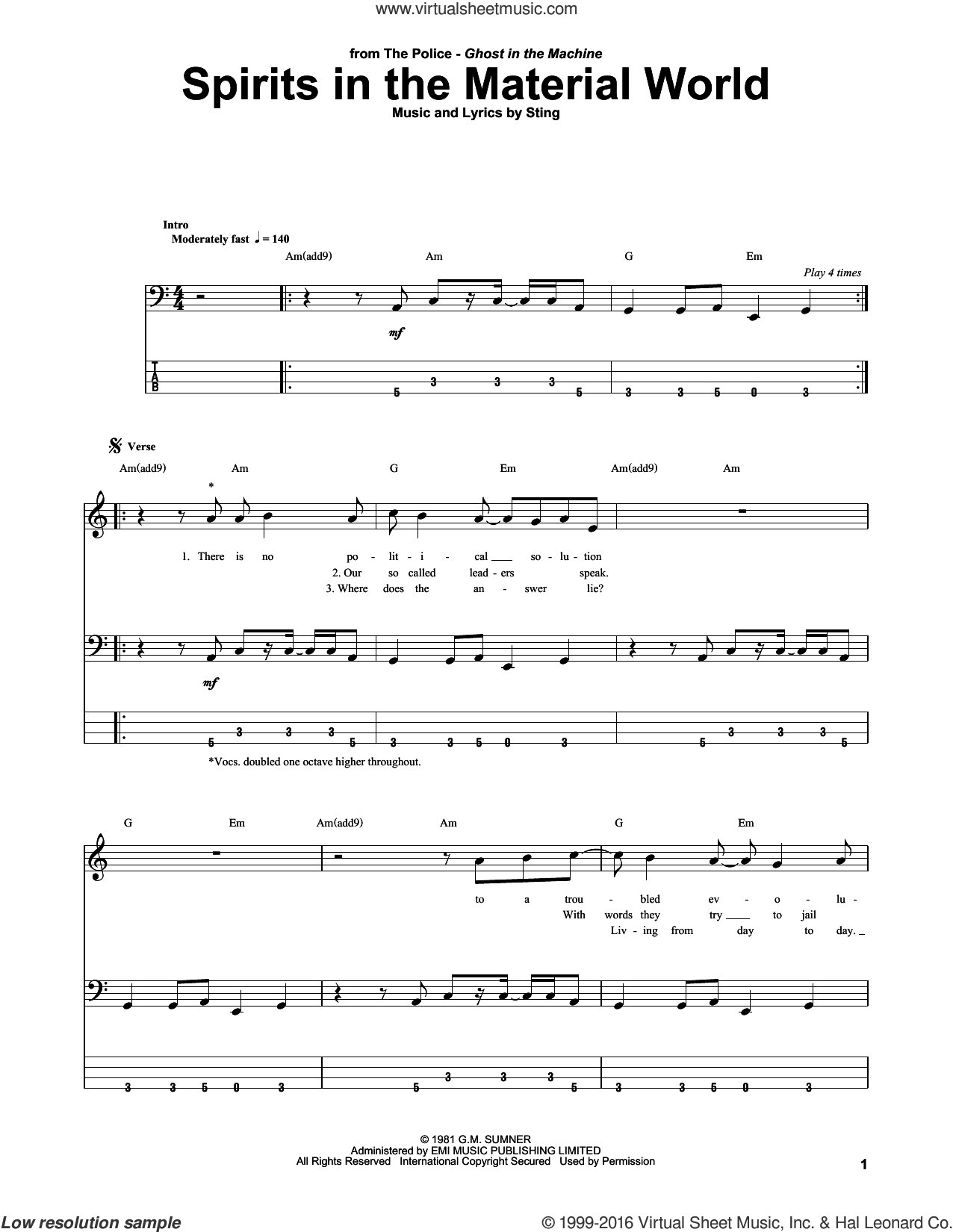 Spirits In The Material World sheet music for bass (tablature) (bass guitar) by Sting and The Police. Score Image Preview.