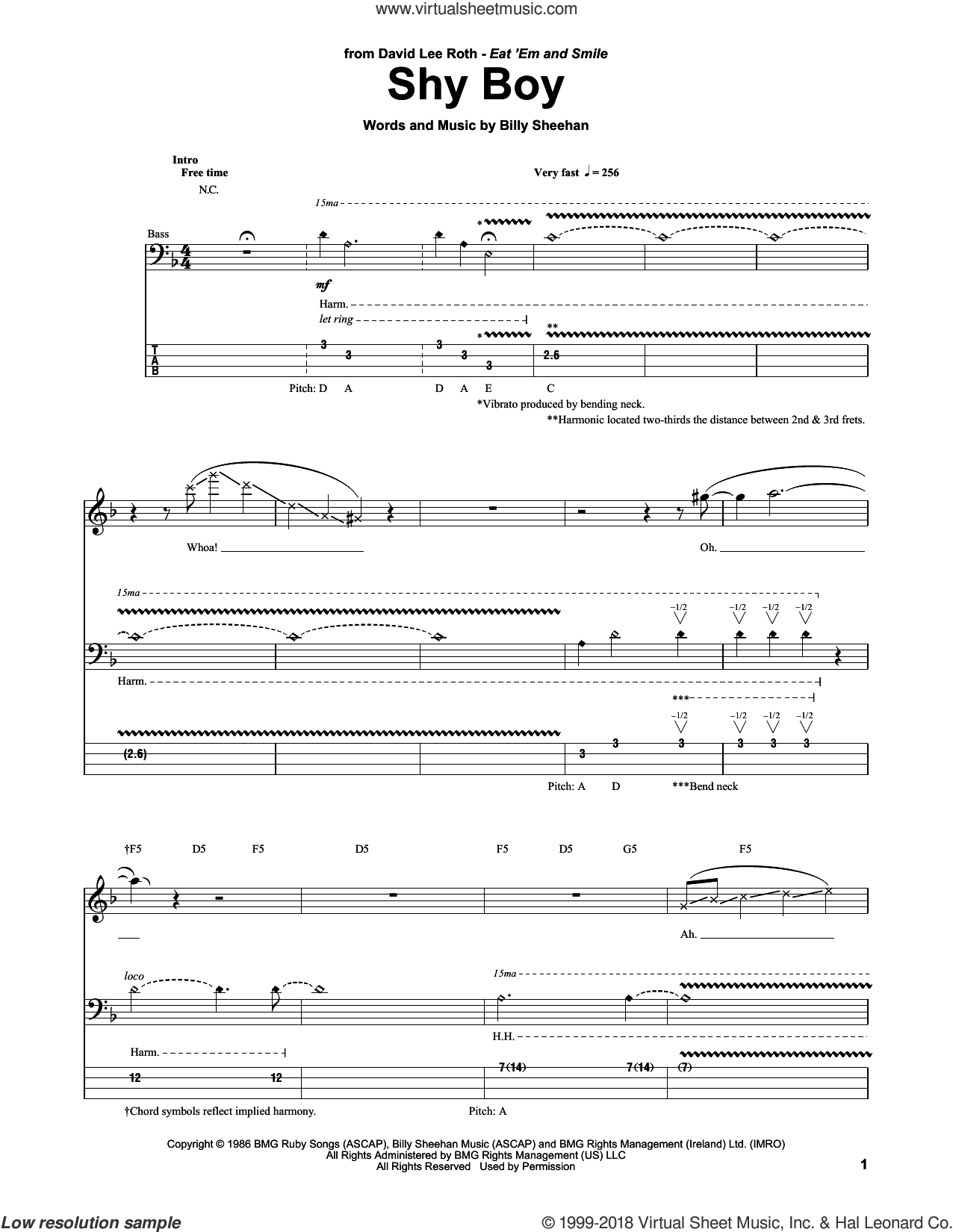 Shy Boy sheet music for bass (tablature) (bass guitar) by Billy Sheehan and David Lee Roth. Score Image Preview.