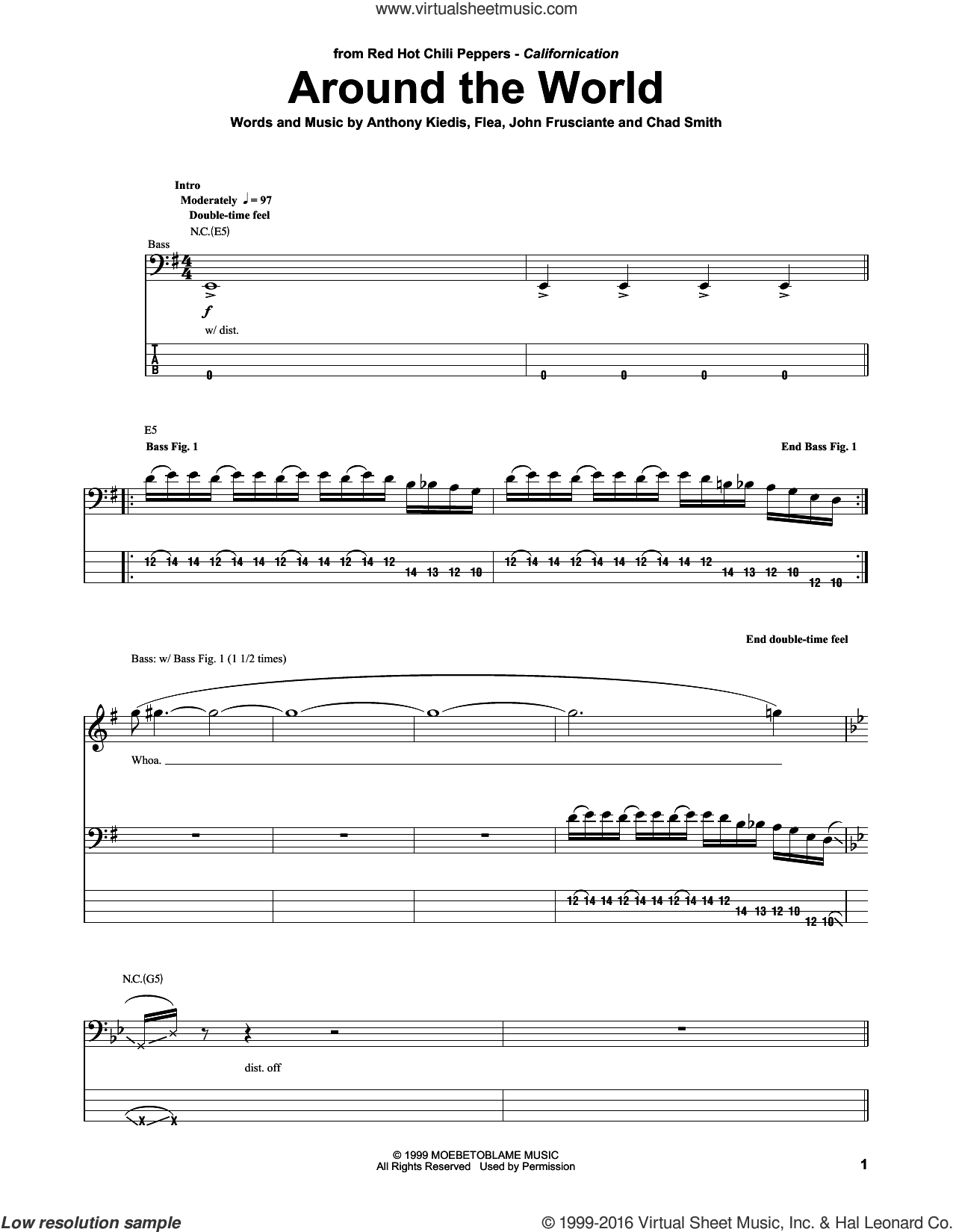 Around The World sheet music for bass (tablature) (bass guitar) by Red Hot Chili Peppers, Anthony Kiedis, Chad Smith, Flea and John Frusciante, intermediate skill level
