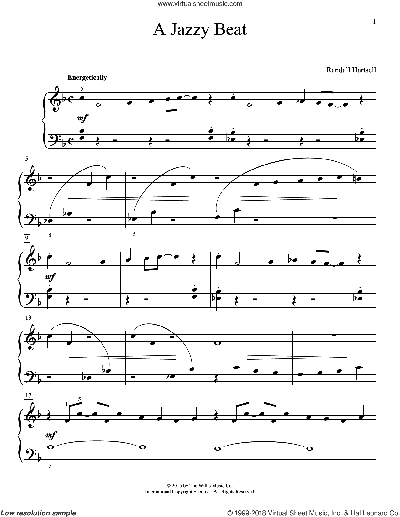 A Jazzy Beat sheet music for piano solo (elementary) by Randall Hartsell. Score Image Preview.