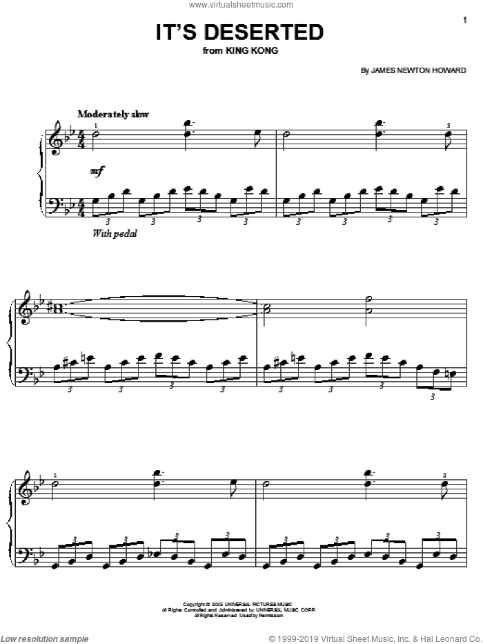 It's Deserted sheet music for piano solo by James Newton Howard and King Kong (Movie), easy skill level