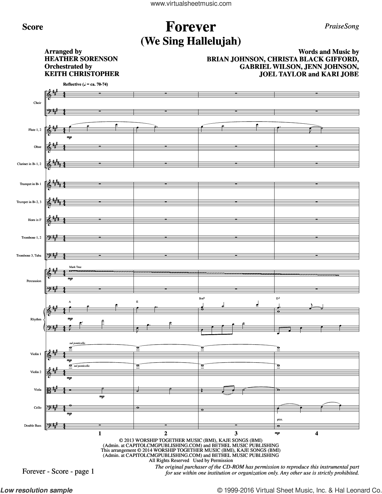 Forever (We Sing Hallelujah) (COMPLETE) sheet music for orchestra by Brian Johnson, Heather Sorenson and Kari Jobe. Score Image Preview.