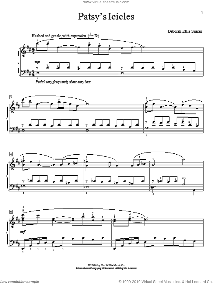 Patsy's Icicles sheet music for piano solo (elementary) by Deborah Ellis Suarez. Score Image Preview.