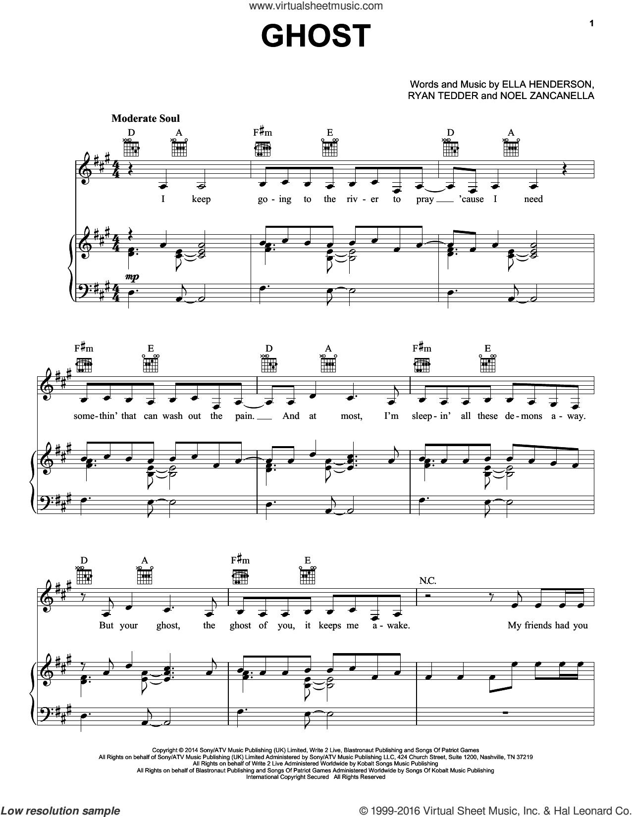 Ghost sheet music for voice, piano or guitar by Ryan Tedder, Ella Henderson and Noel Zancanella. Score Image Preview.