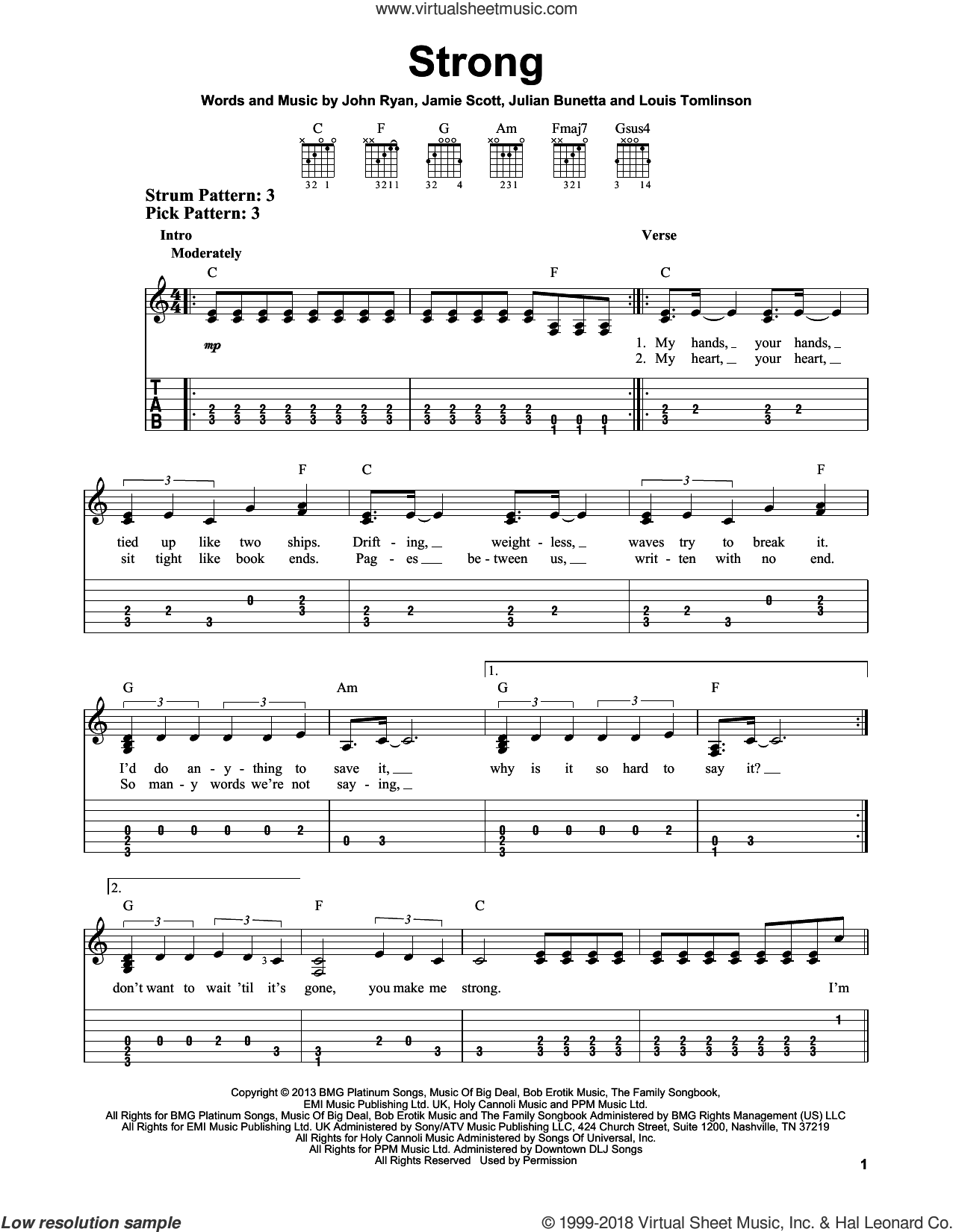 Strong sheet music for guitar solo (easy tablature) by Louis Tomlinson, One Direction, Jamie Scott, John Ryan and Julian Bunetta. Score Image Preview.