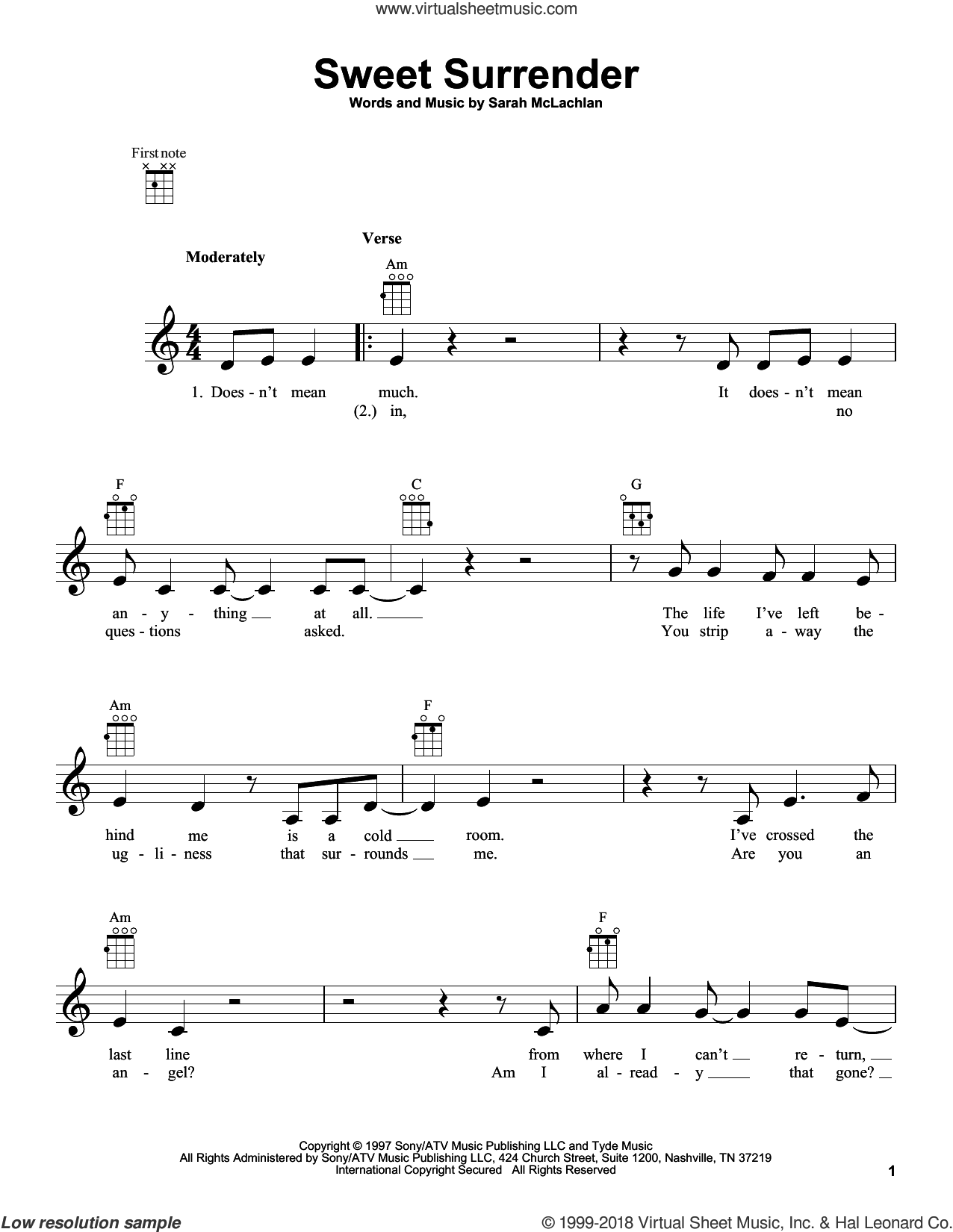 Sweet Surrender sheet music for ukulele by Sarah McLachlan, intermediate ukulele. Score Image Preview.