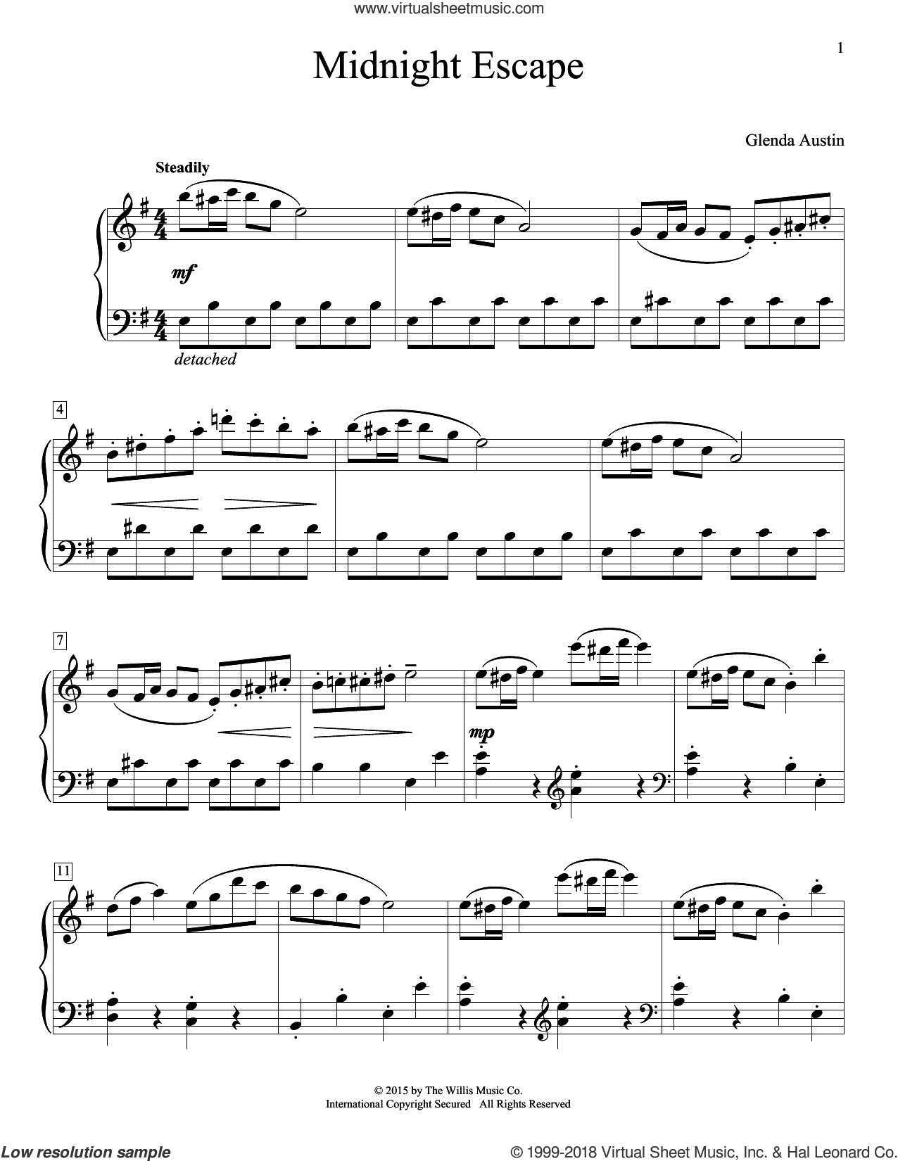 Midnight Escape sheet music for piano solo (elementary) by Glenda Austin. Score Image Preview.