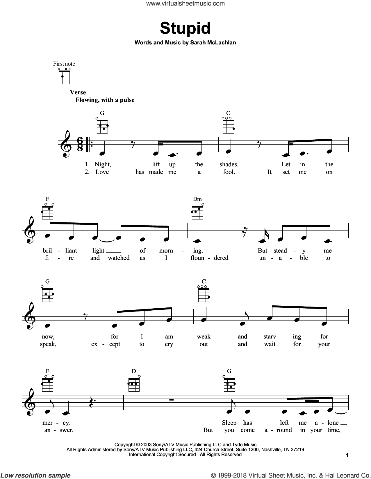 Stupid sheet music for ukulele by Sarah McLachlan, intermediate skill level