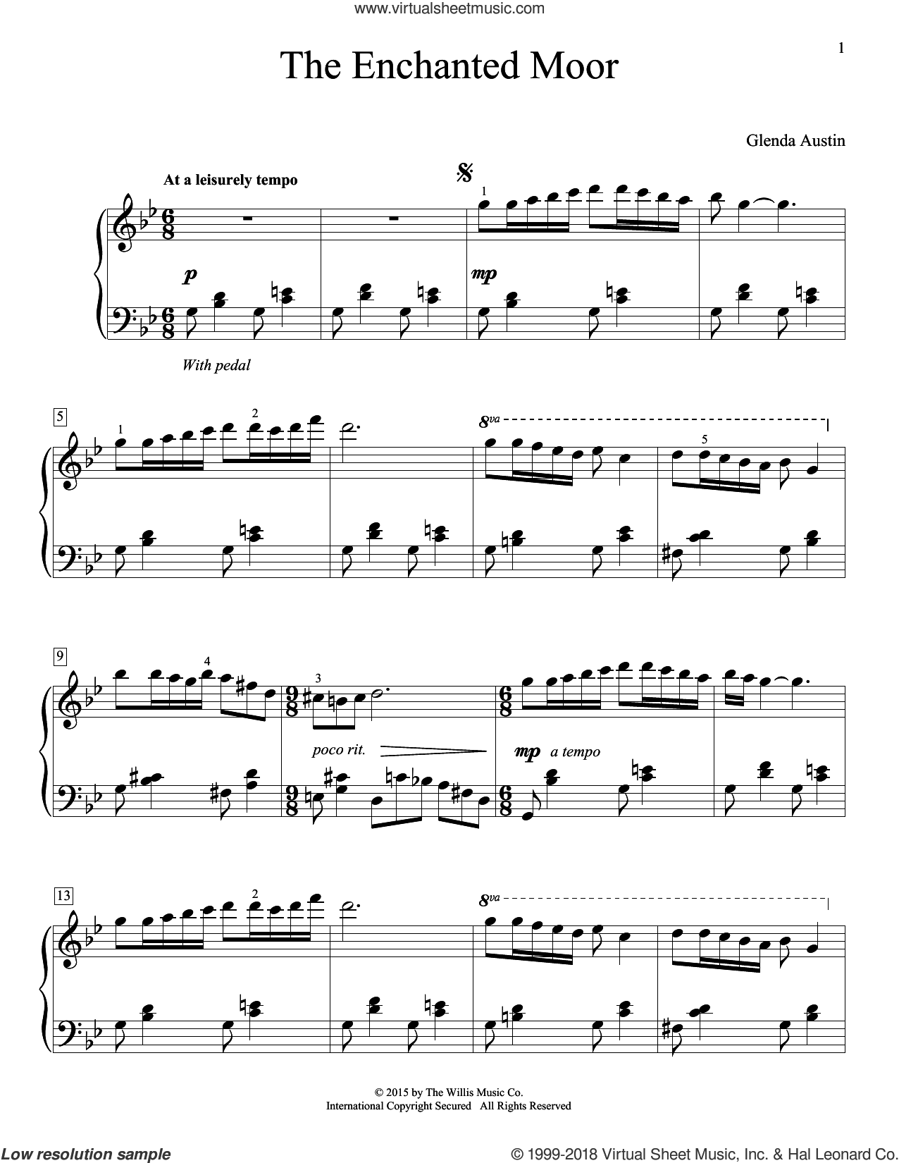 The Enchanted Moor sheet music for piano solo (elementary) by Glenda Austin. Score Image Preview.