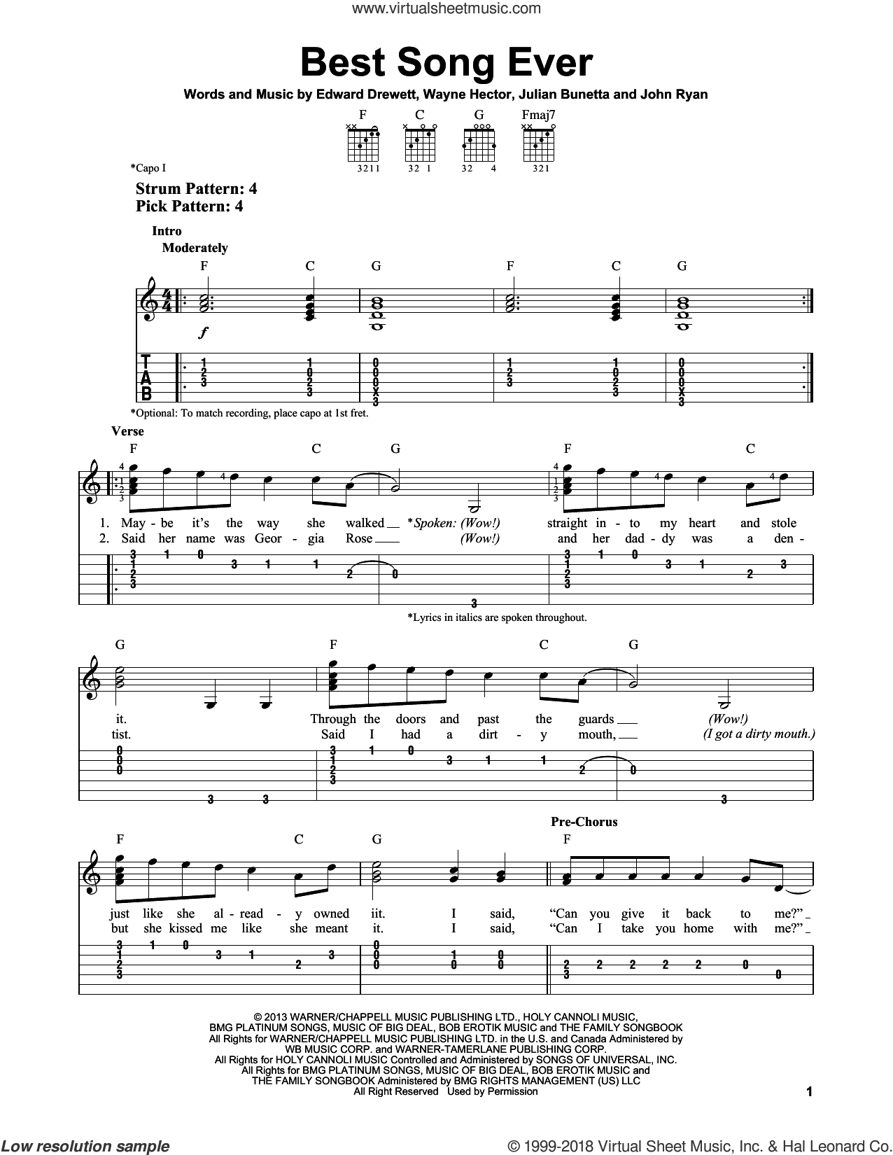 Best Song Ever sheet music for guitar solo (easy tablature) by One Direction, Edward Drewett, John Ryan, Julian Bunetta and Wayne Hector, easy guitar (easy tablature)