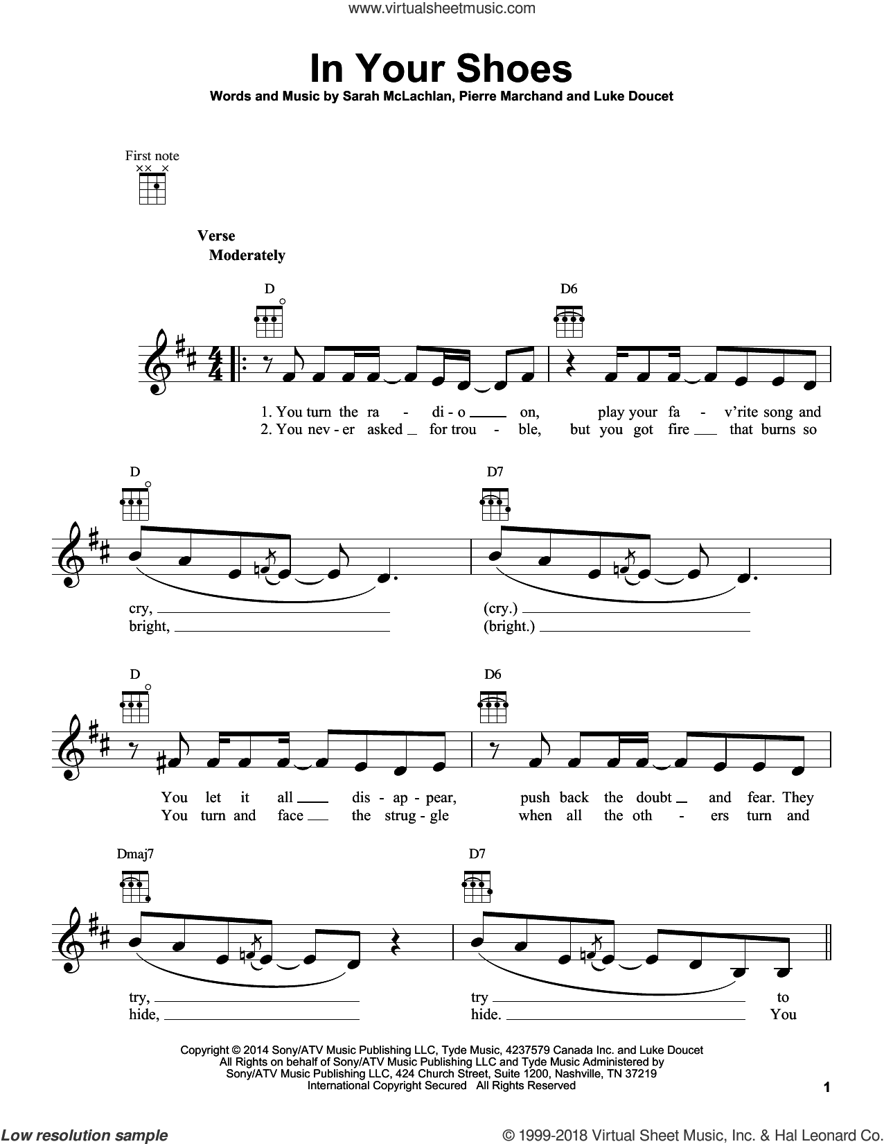 In Your Shoes sheet music for ukulele by Sarah McLachlan, Luke Doucet and Pierre Marchand, intermediate skill level