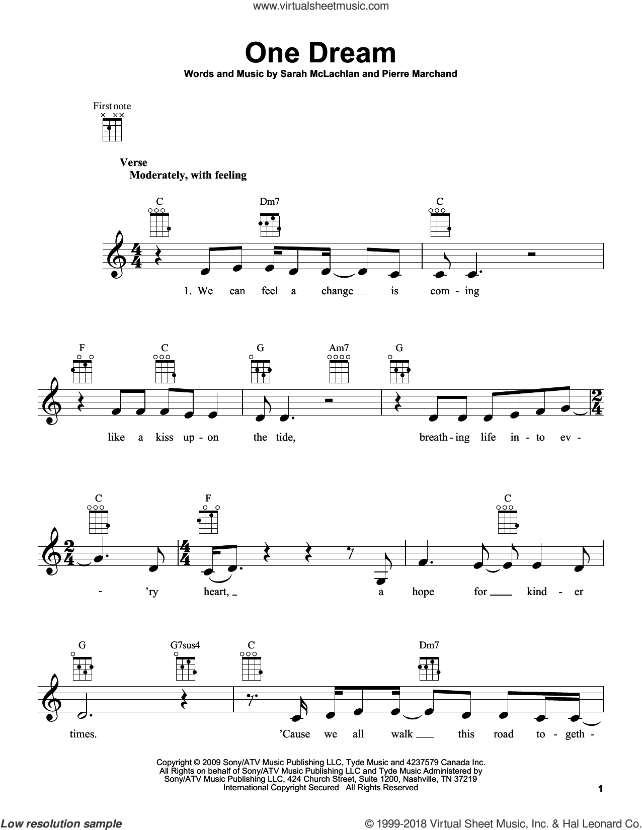 One Dream sheet music for ukulele by Sarah McLachlan and Pierre Marchand, intermediate skill level
