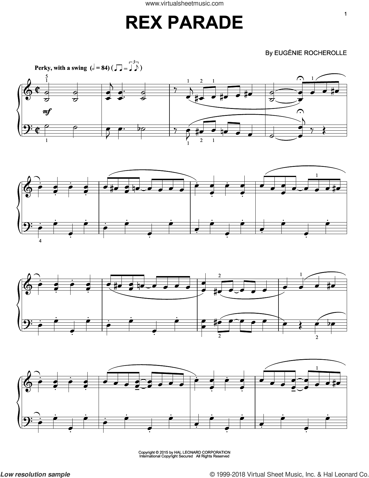 Rex Parade sheet music for piano solo by Eugenie Rocherolle, intermediate skill level
