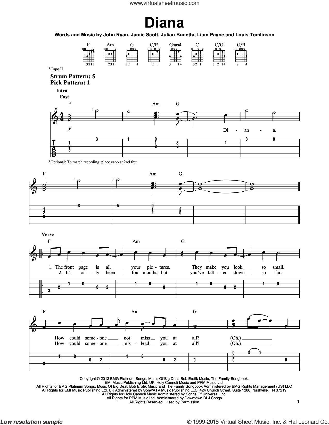 Diana sheet music for guitar solo (easy tablature) by One Direction, Jamie Scott, John Ryan, Julian Bunetta, Liam Payne and Louis Tomlinson, easy guitar (easy tablature)