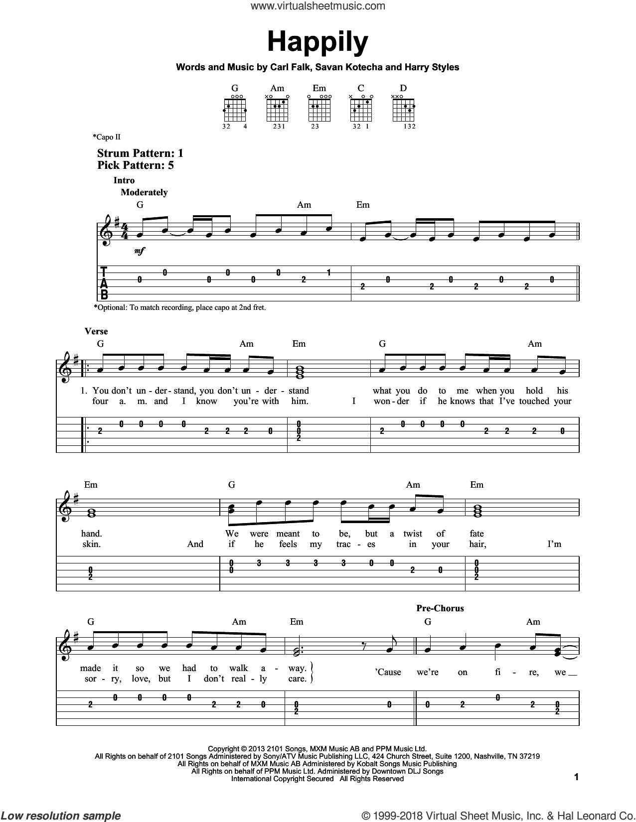 Happily sheet music for guitar solo (easy tablature) by Savan Kotecha, One Direction, Carl Falk and Harry Styles. Score Image Preview.