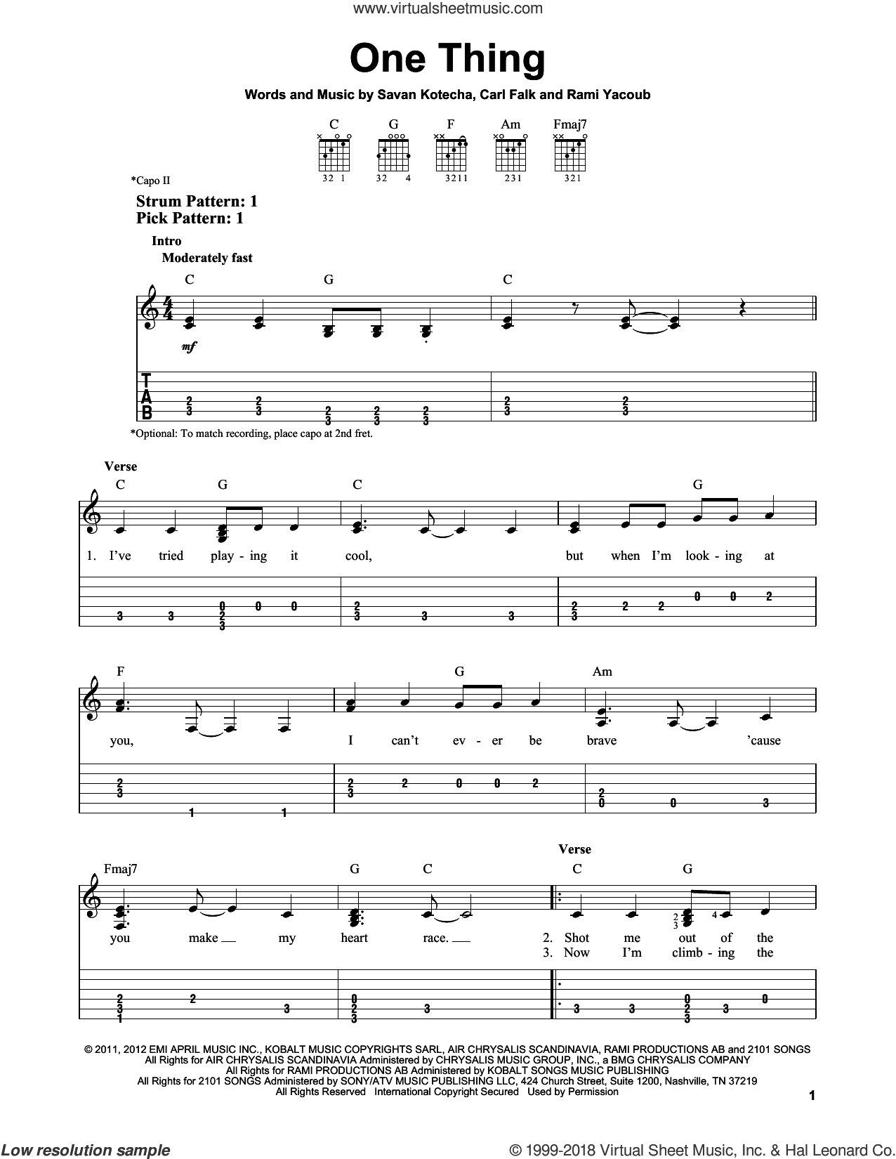 One Thing sheet music for guitar solo (easy tablature) by One Direction, Rami and Savan Kotecha. Score Image Preview.