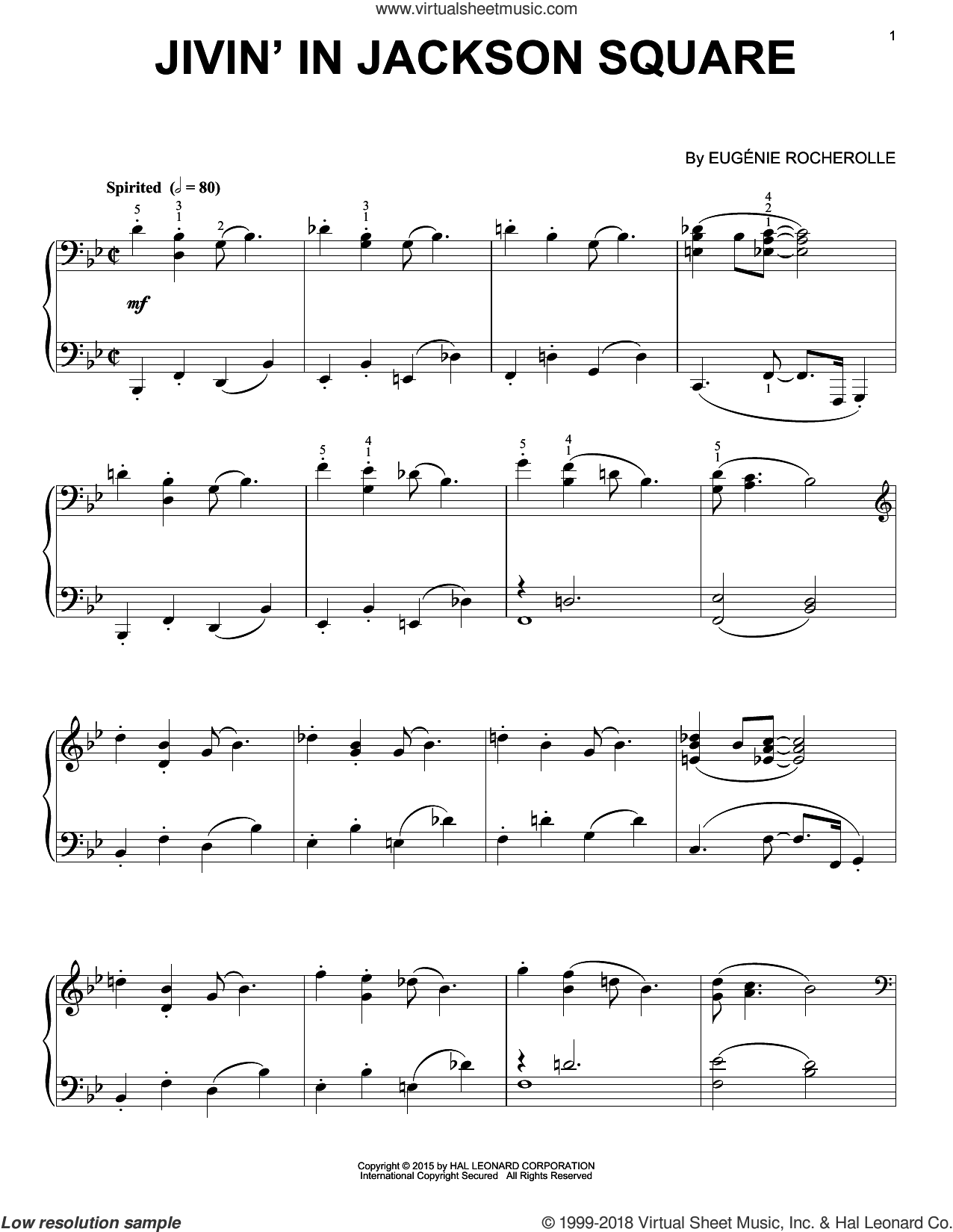 Jivin' In Jackson Square sheet music for piano solo by Eugenie Rocherolle, intermediate skill level