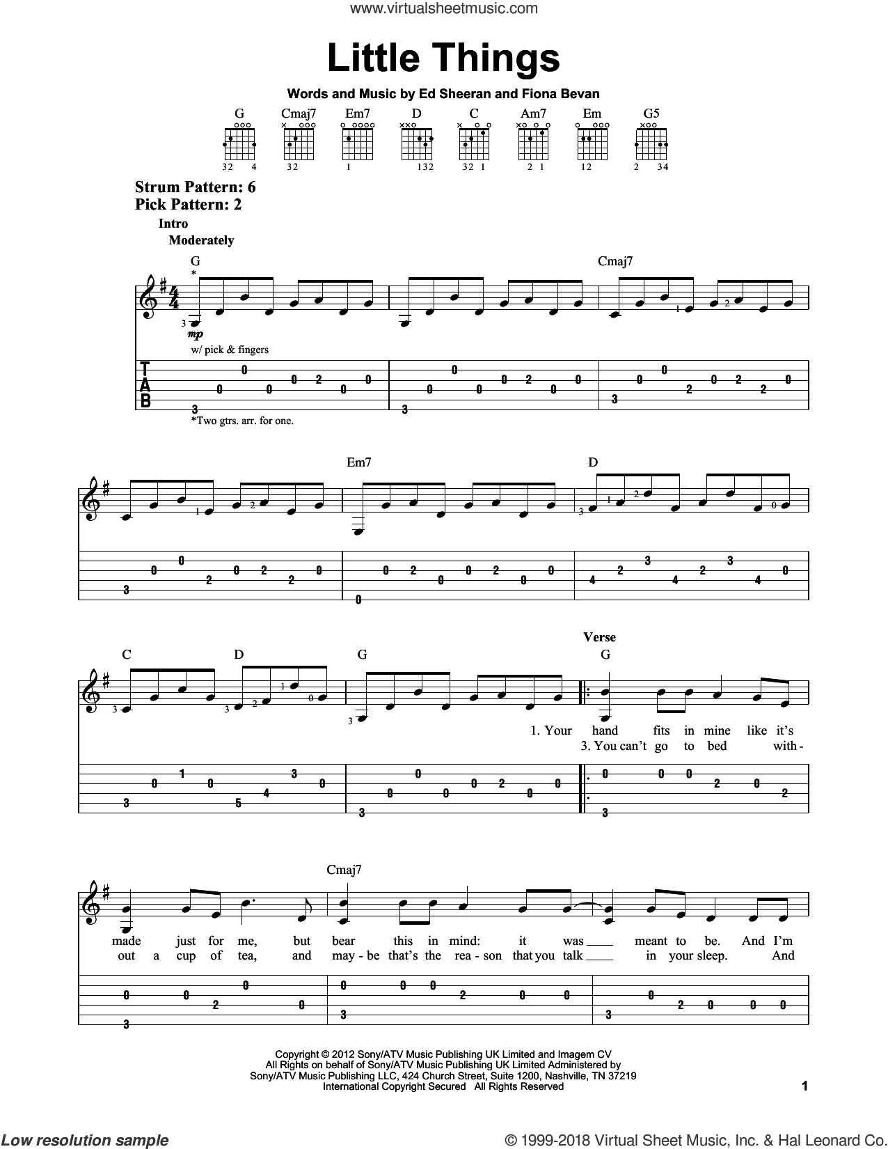 Little Things sheet music for guitar solo (easy tablature) by One Direction, Ed Sheeran and Fiona Bevan, easy guitar (easy tablature)