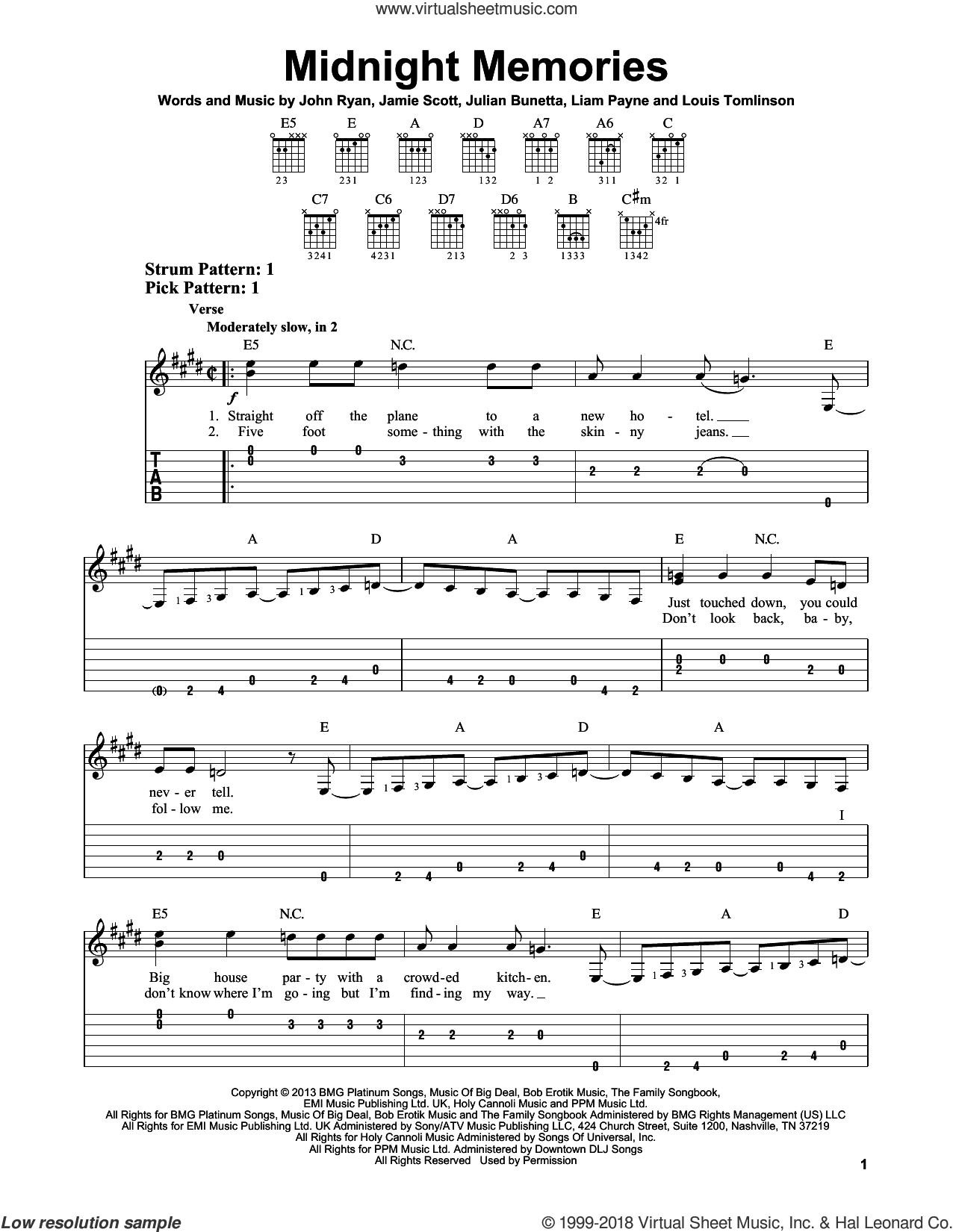 Midnight Memories sheet music for guitar solo (easy tablature) by One Direction, Jamie Scott, John Ryan, Julian Bunetta, Liam Payne and Louis Tomlinson, easy guitar (easy tablature). Score Image Preview.