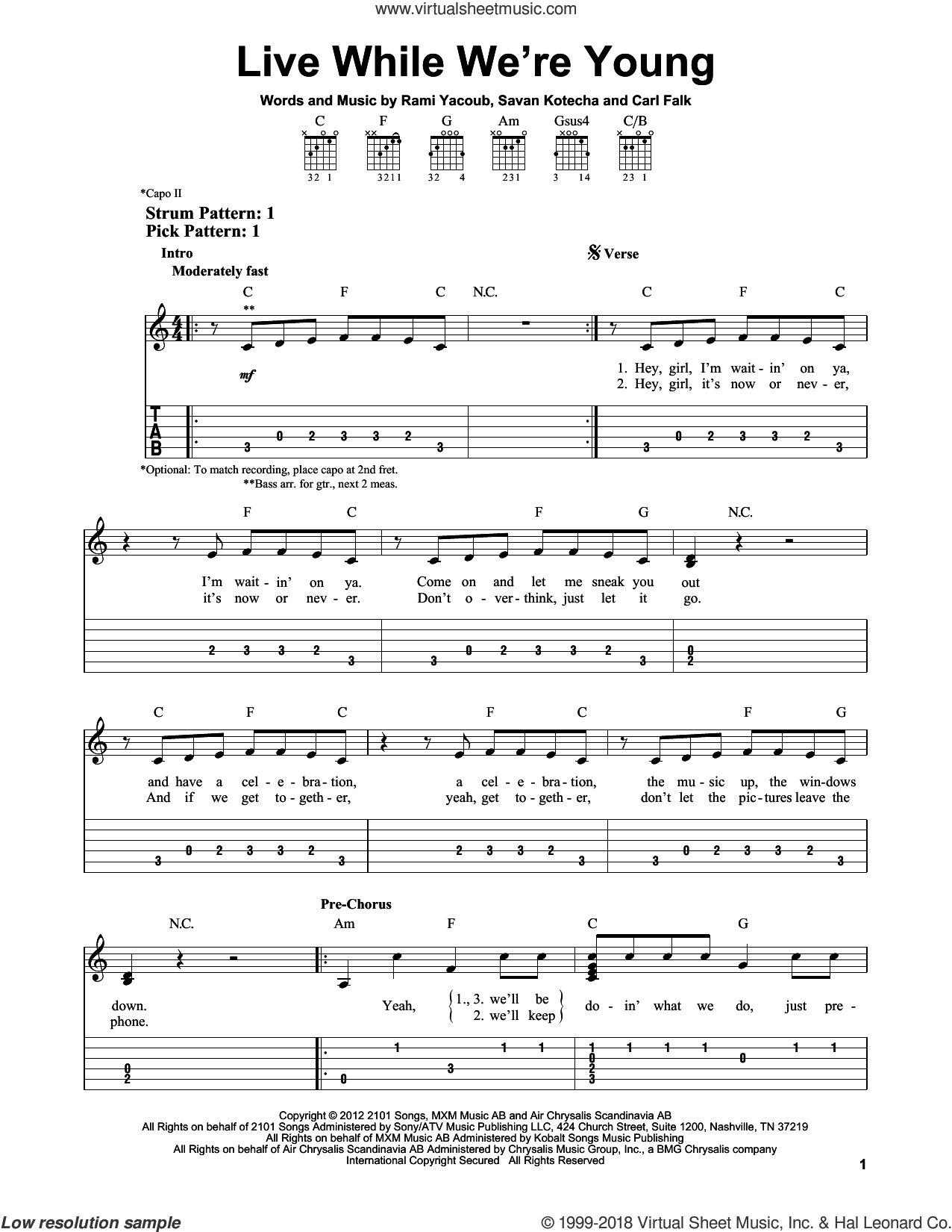 Live While We're Young sheet music for guitar solo (easy tablature) by One Direction, Carl Falk, Rami and Savan Kotecha, easy guitar (easy tablature). Score Image Preview.
