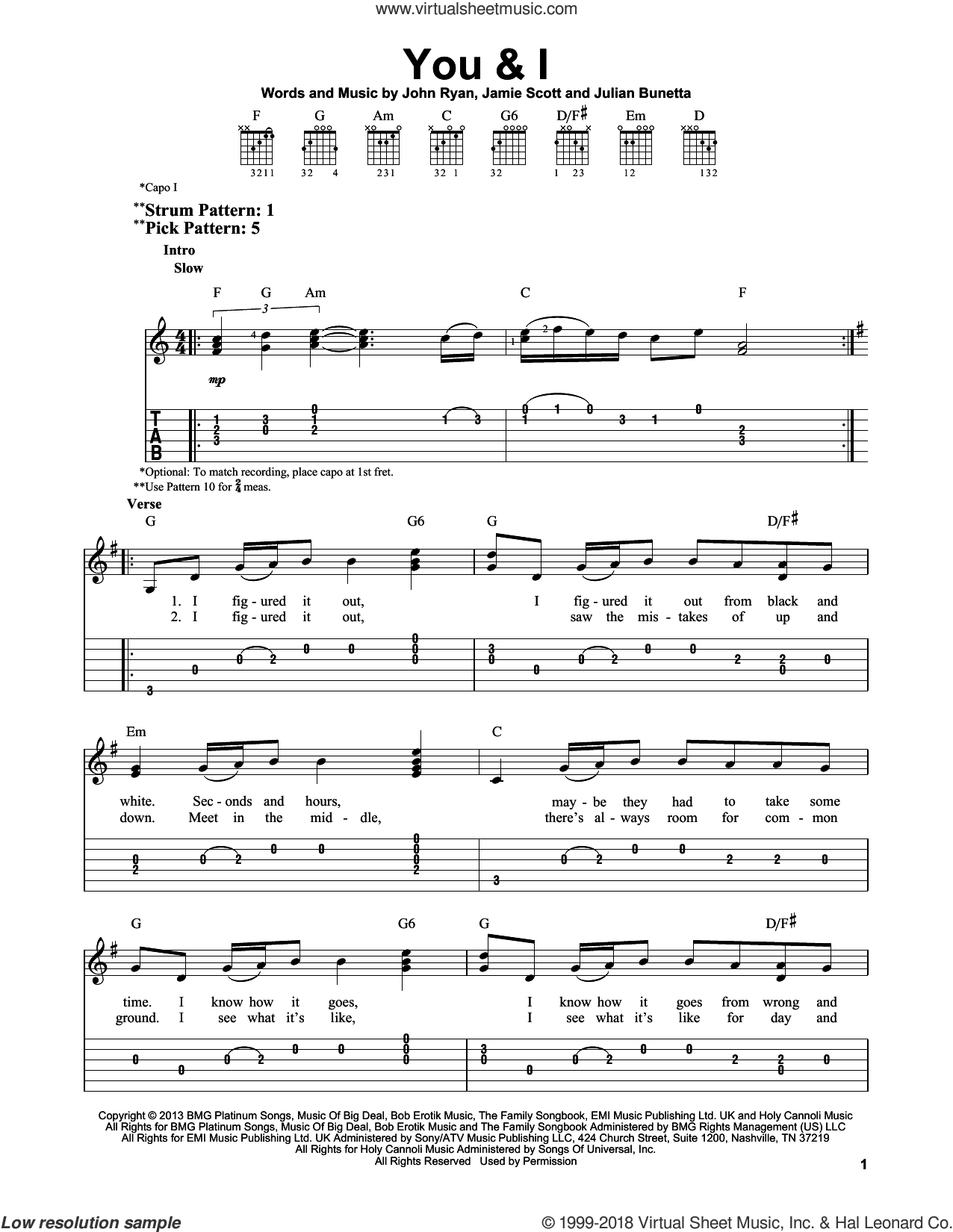 You and I sheet music for guitar solo (easy tablature) by Julian Bunetta, One Direction, Jamie Scott and John Ryan. Score Image Preview.