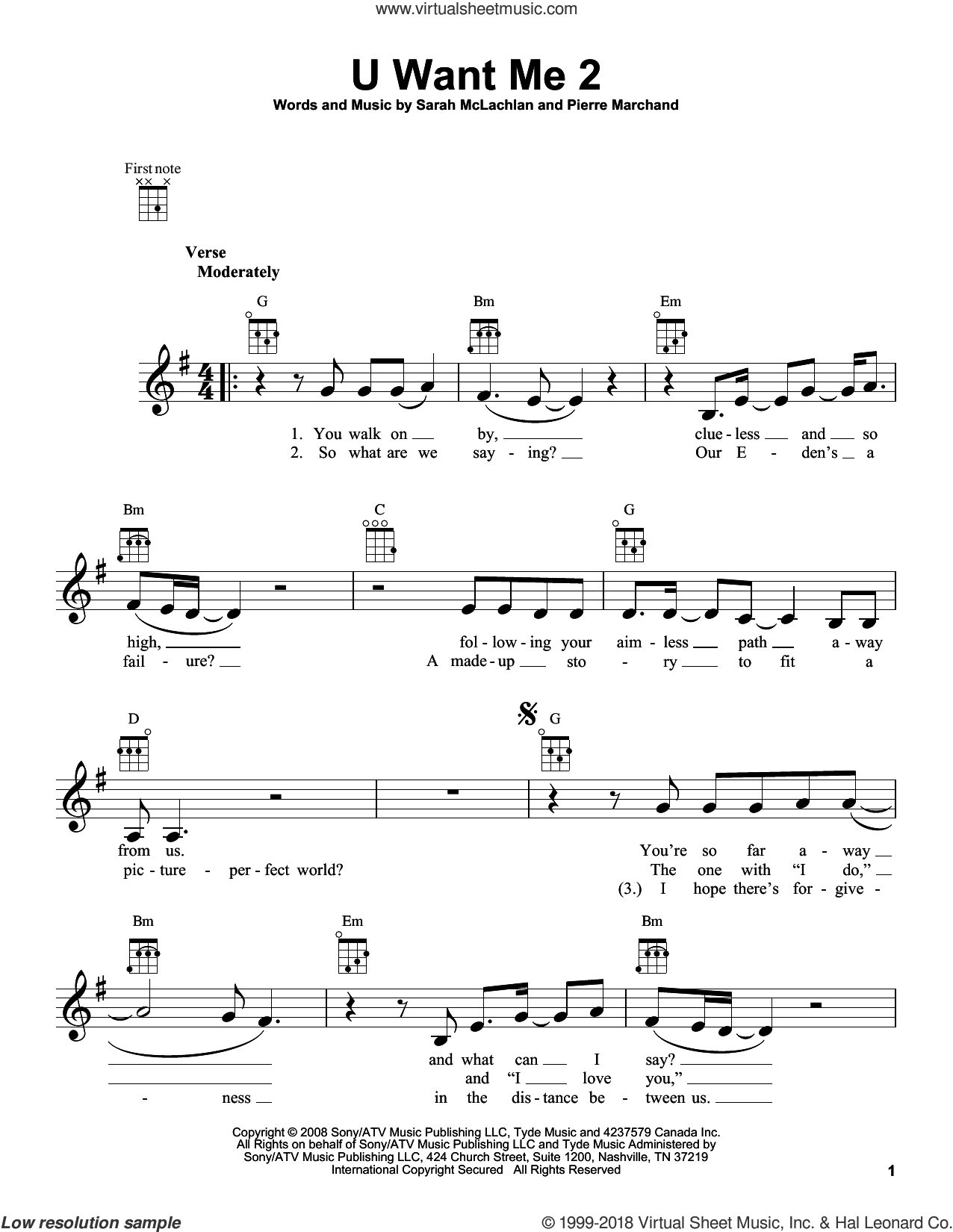 U Want Me 2 sheet music for ukulele by Sarah McLachlan and Pierre Marchand, intermediate skill level