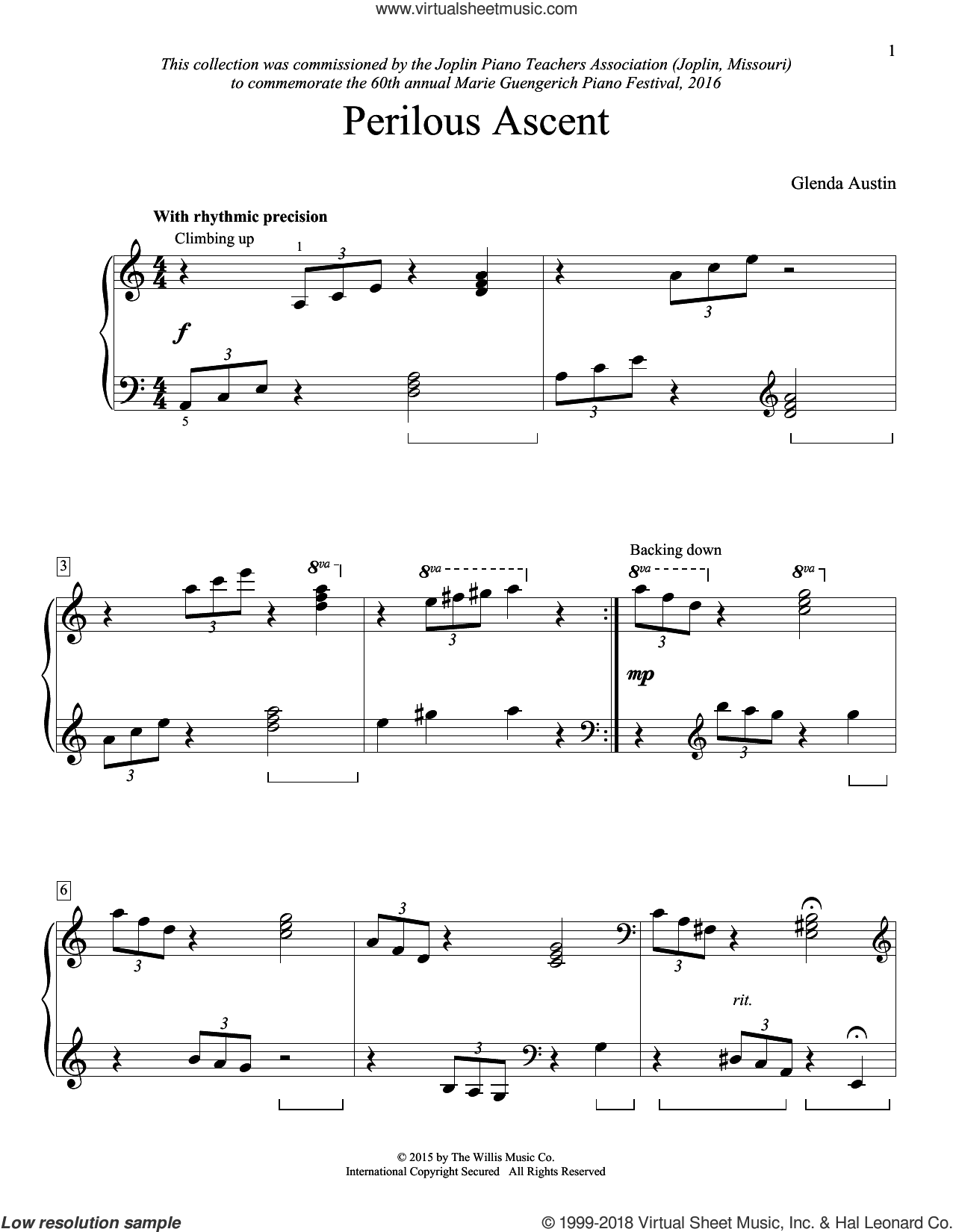 Perilous Ascent sheet music for piano solo (elementary) by Glenda Austin, beginner piano (elementary)