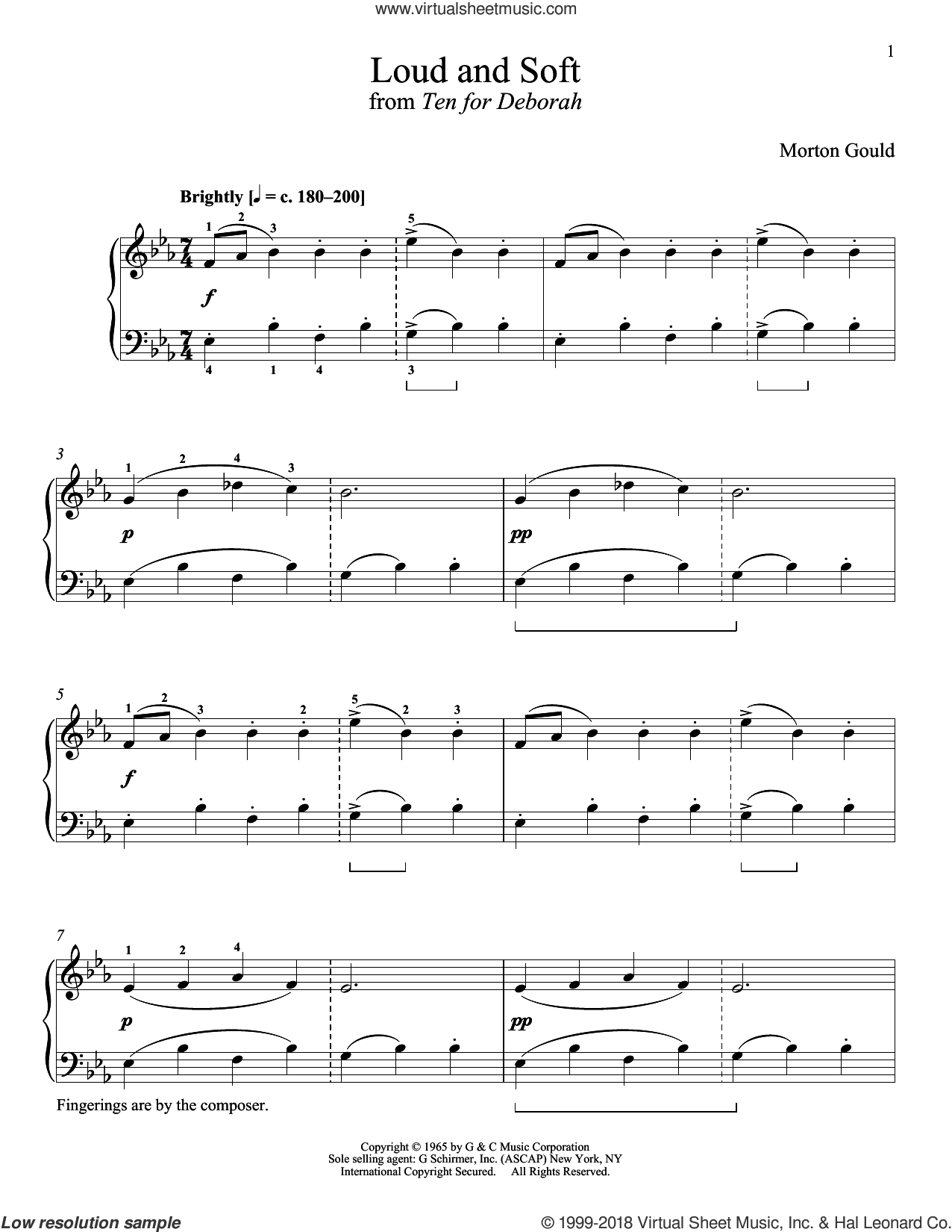 Loud And Soft sheet music for piano solo by Morton Gould and Richard Walters, classical score, intermediate. Score Image Preview.