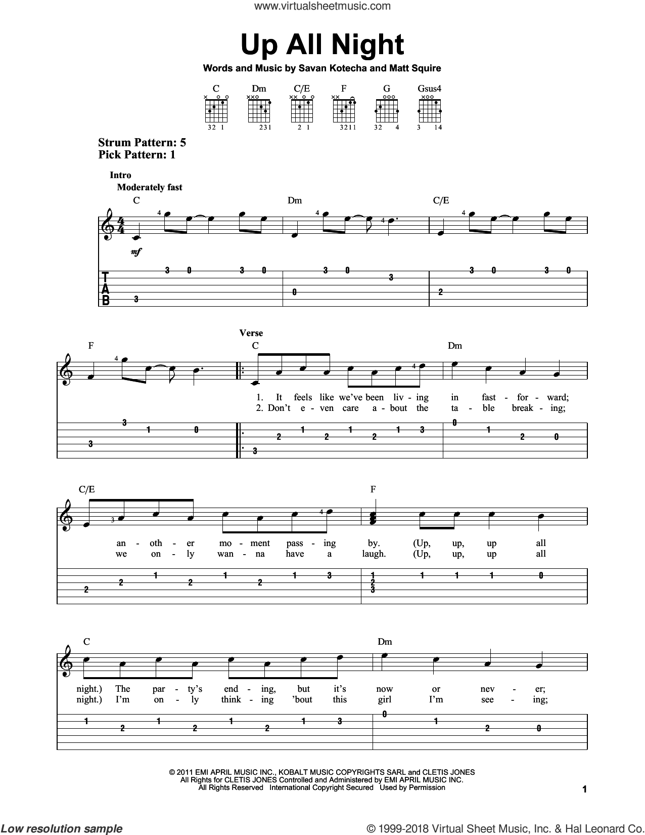Up All Night sheet music for guitar solo (easy tablature) by One Direction and Savan Kotecha. Score Image Preview.