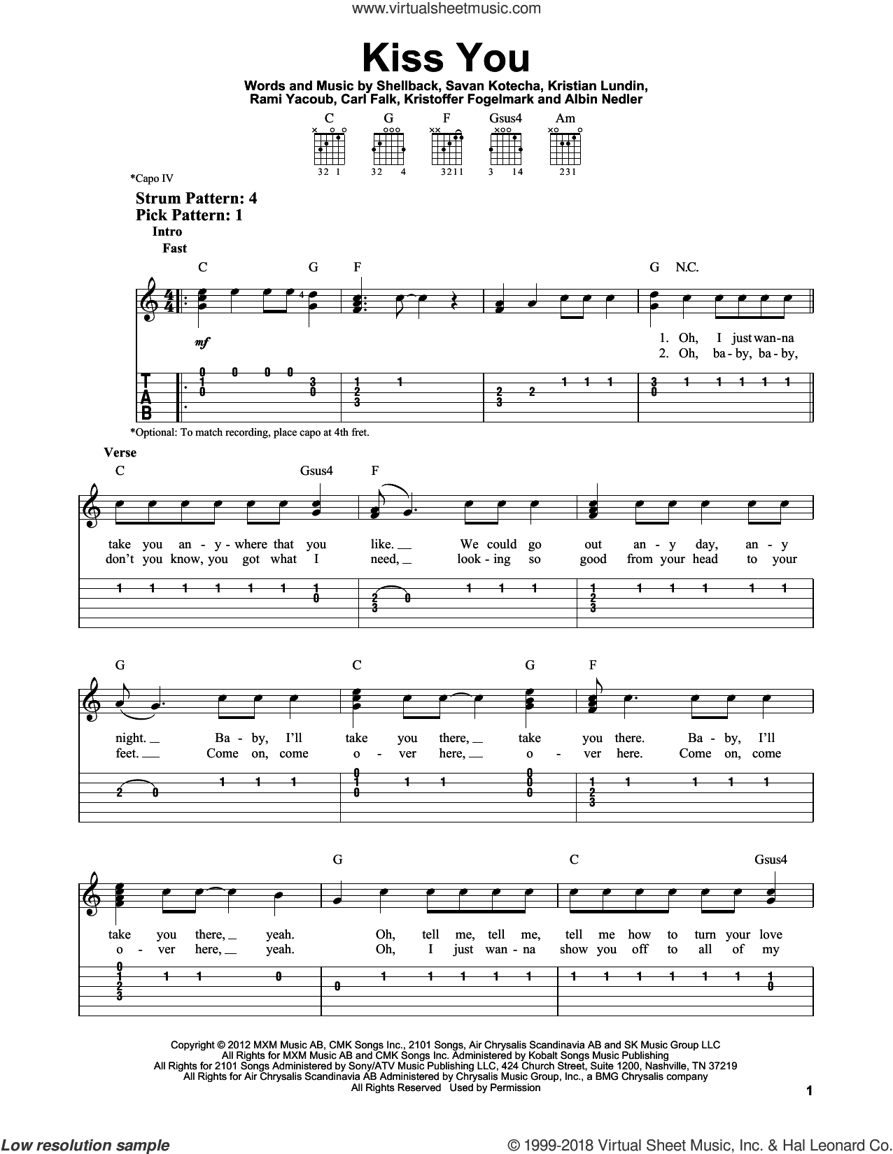 Kiss You sheet music for guitar solo (easy tablature) by One Direction, Kristian Lundin, Rami, Savan Kotecha and Shellback. Score Image Preview.