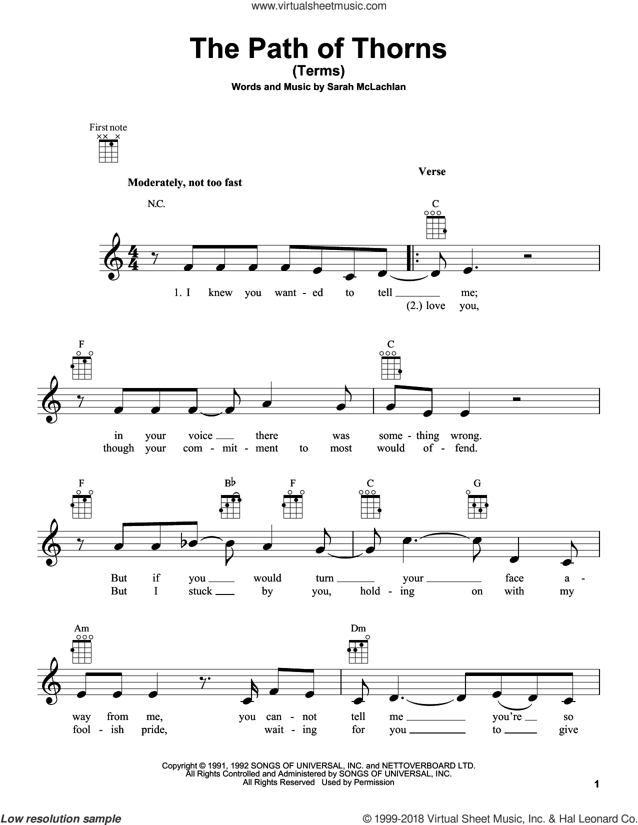 The Path Of Thorns (Terms) sheet music for ukulele by Sarah McLachlan, intermediate