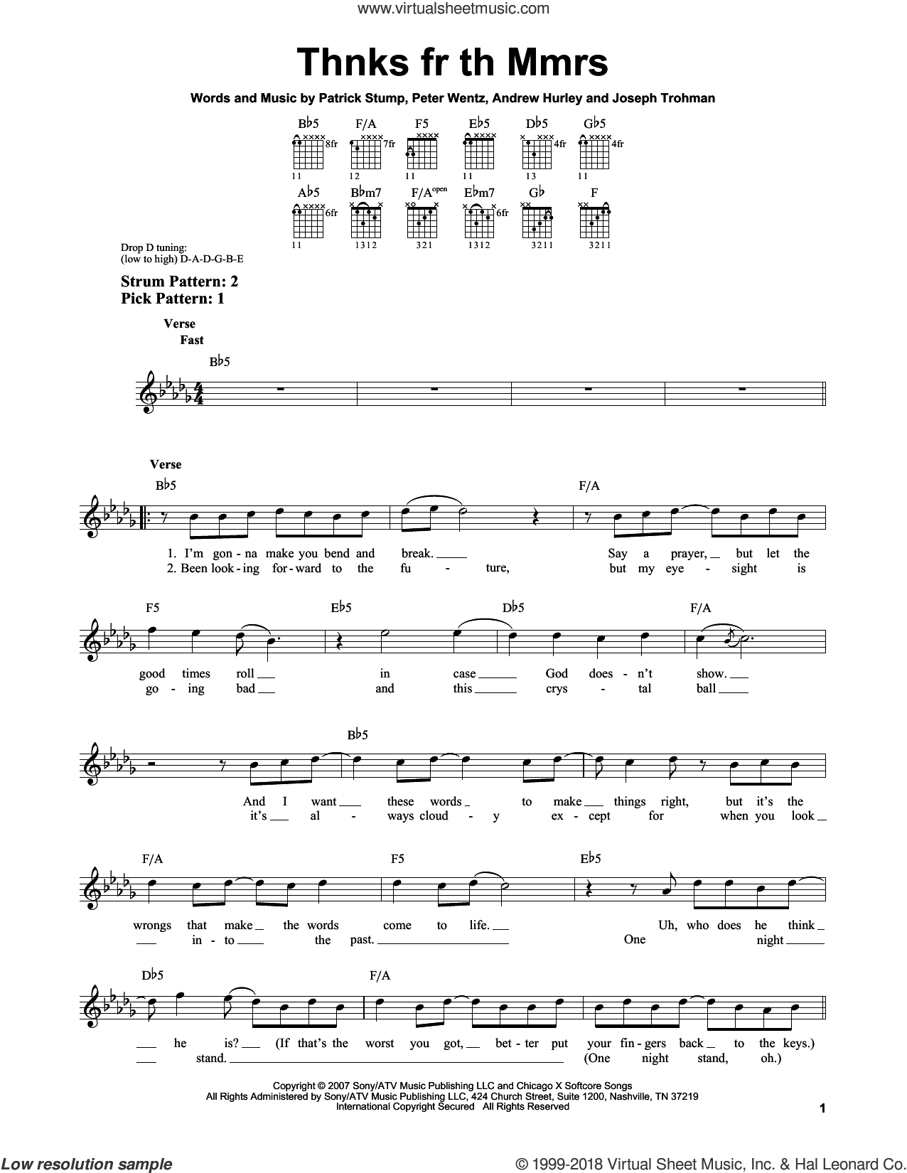 Thnks Fr Th Mmrs sheet music for guitar solo (chords) by Fall Out Boy, Andrew Hurley, Joseph Trohman, Patrick Stump and Peter Wentz, easy guitar (chords)