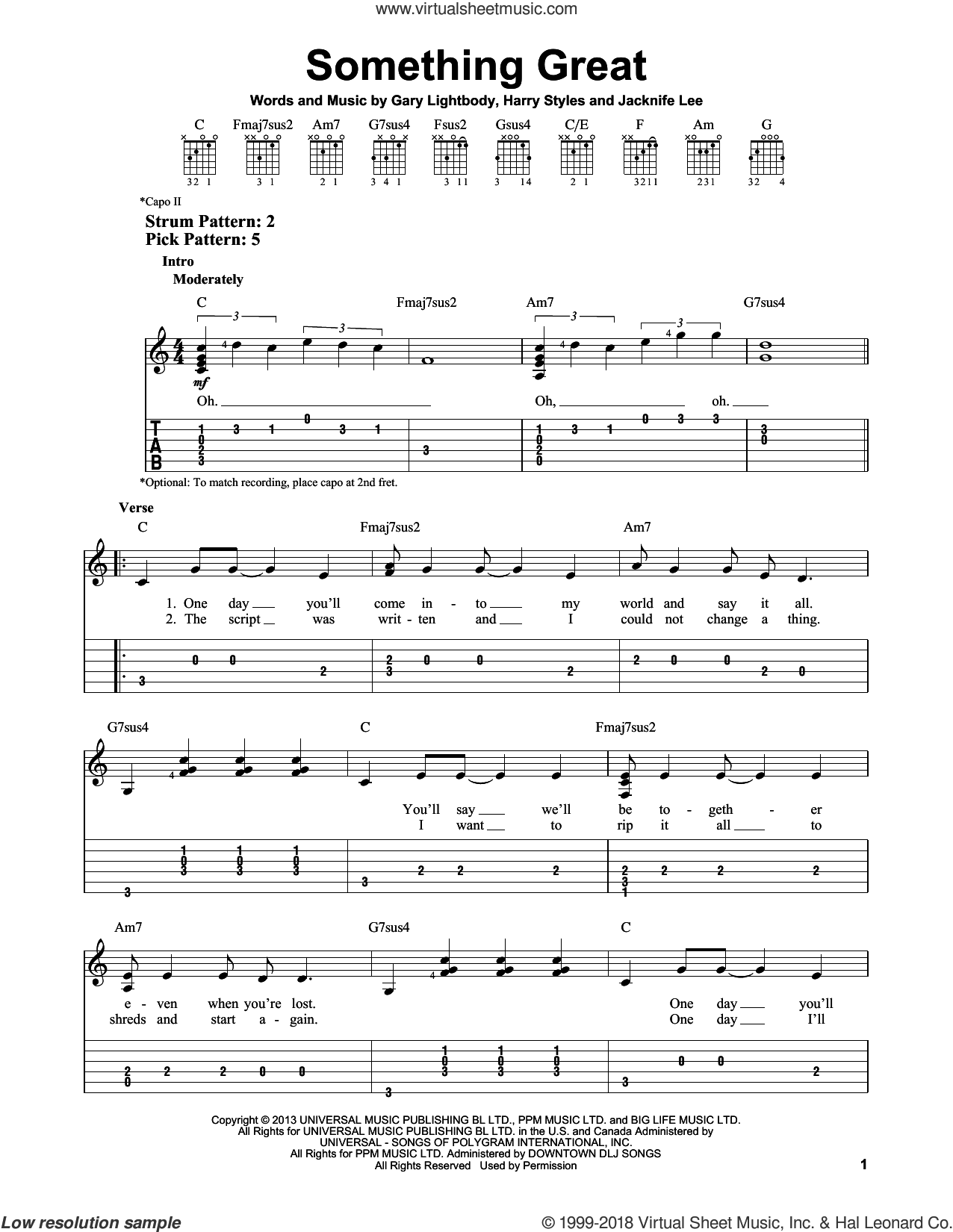 Something Great sheet music for guitar solo (easy tablature) by Jacknife Lee and One Direction. Score Image Preview.