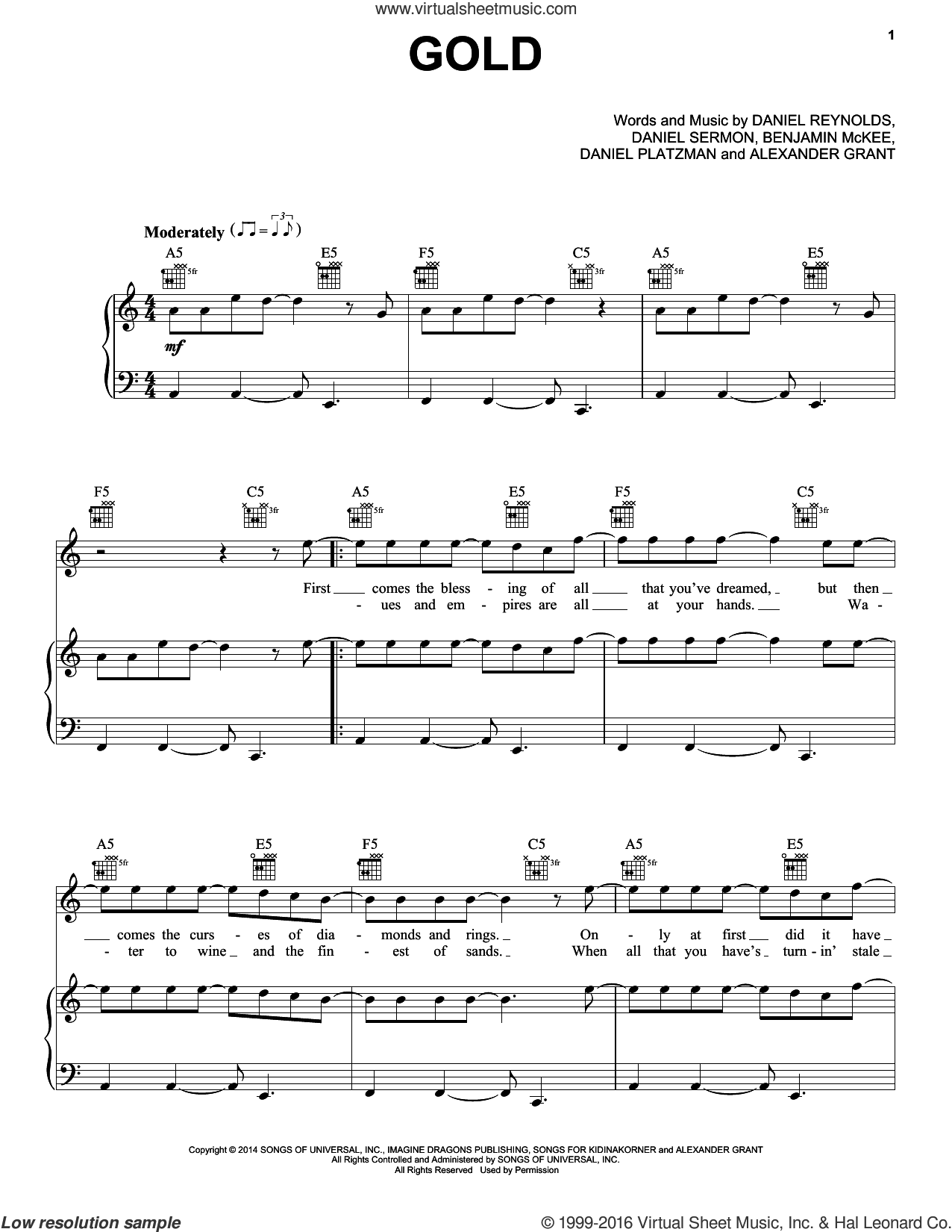 Gold sheet music for voice, piano or guitar by Daniel Sermon, Imagine Dragons, Alexander Grant and Daniel Reynolds. Score Image Preview.