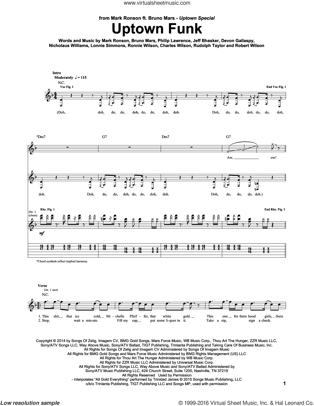 Uptown Funk (feat. Bruno Mars) sheet music for guitar (tablature) by Mark Ronson, Mark Ronson ft. Bruno Mars, Bruno Mars, Devon Gallaspy, Jeff Bhasker, Nicholaus Williams and Philip Lawrence, intermediate skill level