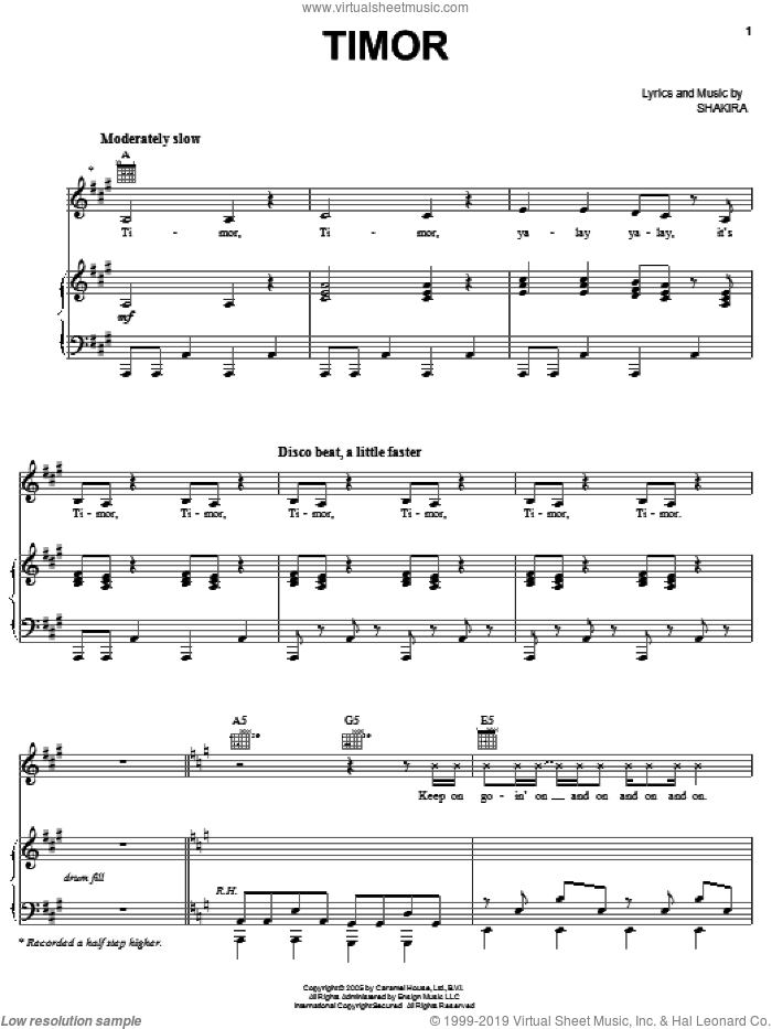 Timor sheet music for voice, piano or guitar by Shakira, intermediate voice, piano or guitar. Score Image Preview.