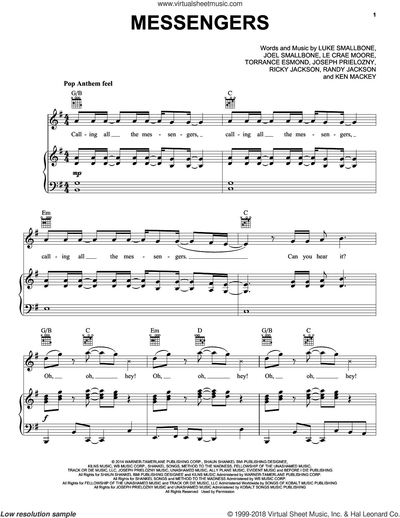 Messengers sheet music for voice, piano or guitar by Torrance Esmond, Joel Smallbone and Luke Smallbone. Score Image Preview.