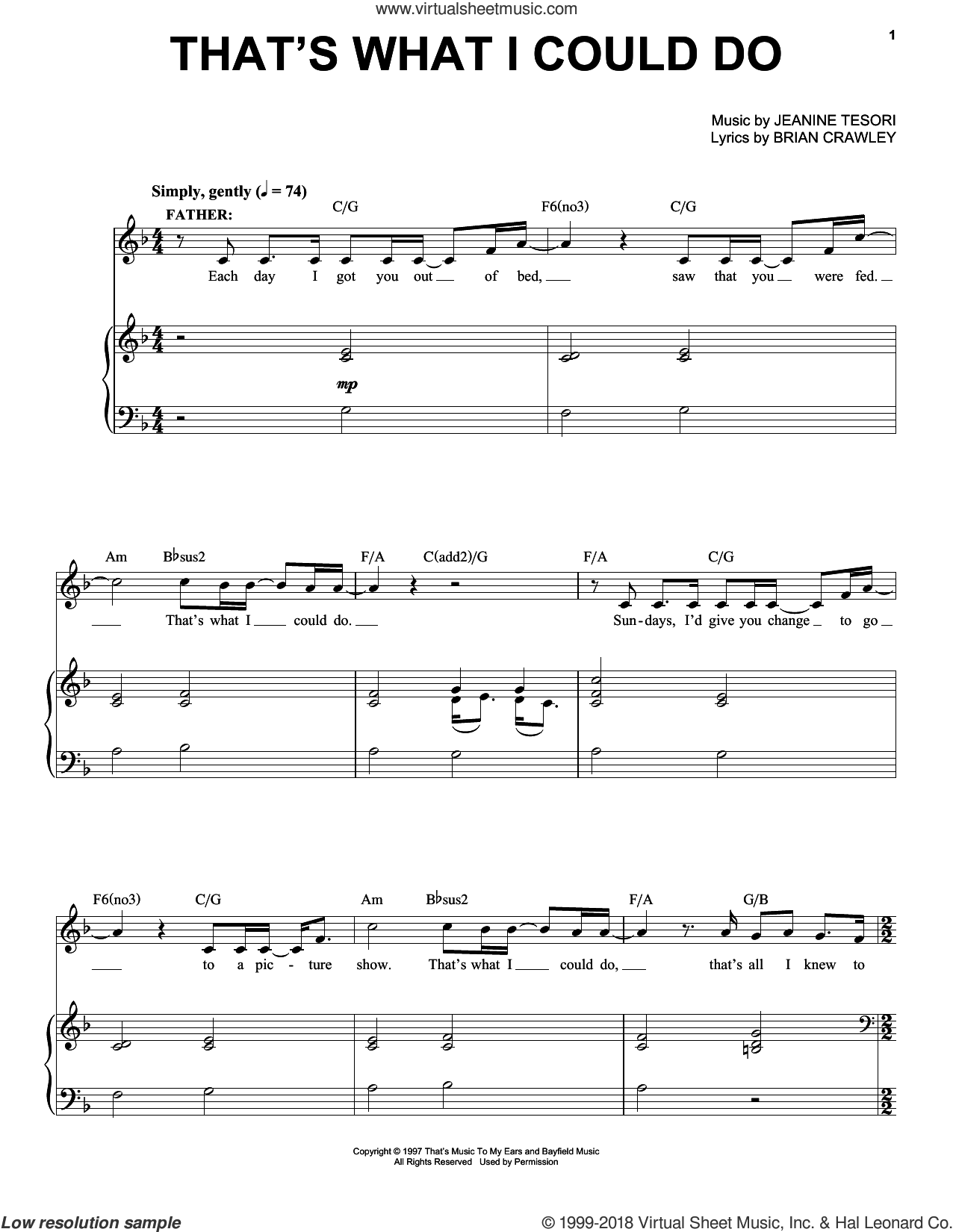 That's What I Could Do sheet music for voice and piano by Jeanine Tesori and Brian Crawley, intermediate skill level