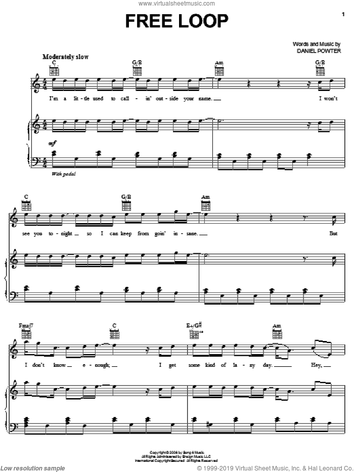 Free Loop sheet music for voice, piano or guitar by Daniel Powter. Score Image Preview.