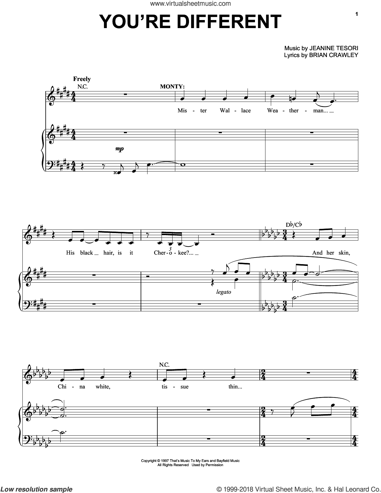 You're Different sheet music for voice and piano by Jeanine Tesori, intermediate voice. Score Image Preview.