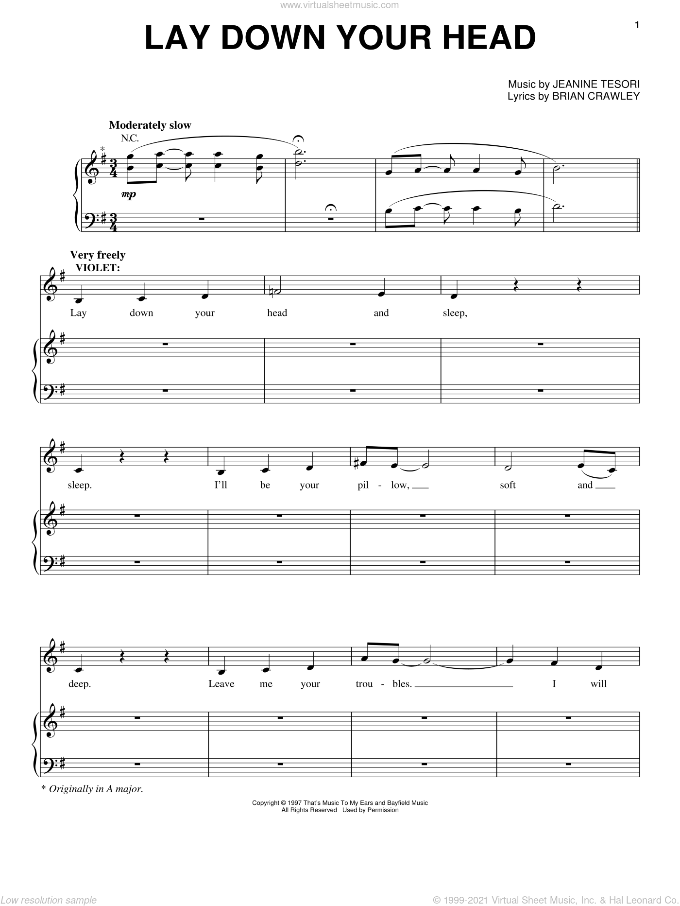 Lay Down Your Head sheet music for voice and piano by Jeanine Tesori, Audra McDonald and Brian Crawley, intermediate skill level