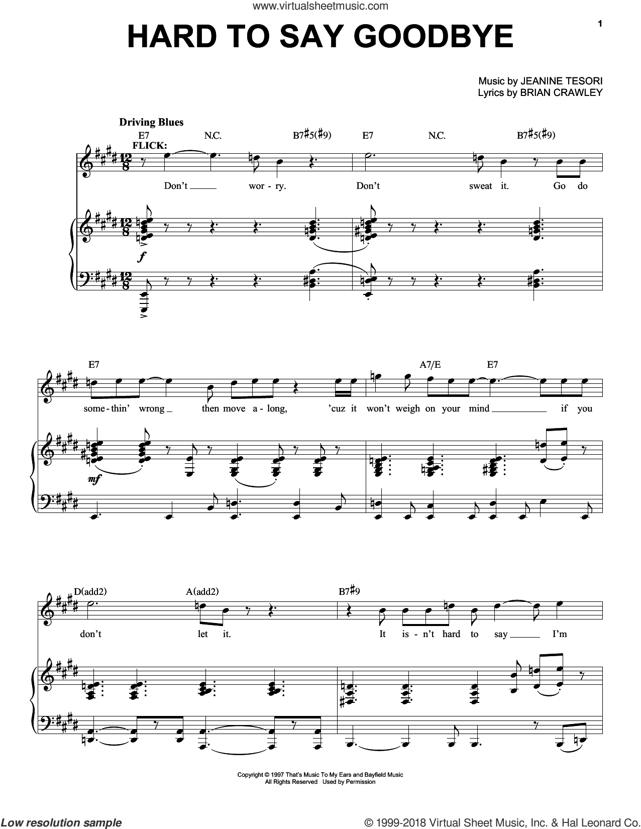 Hard To Say Goodbye sheet music for voice and piano by Jeanine Tesori and Brian Crawley, intermediate skill level