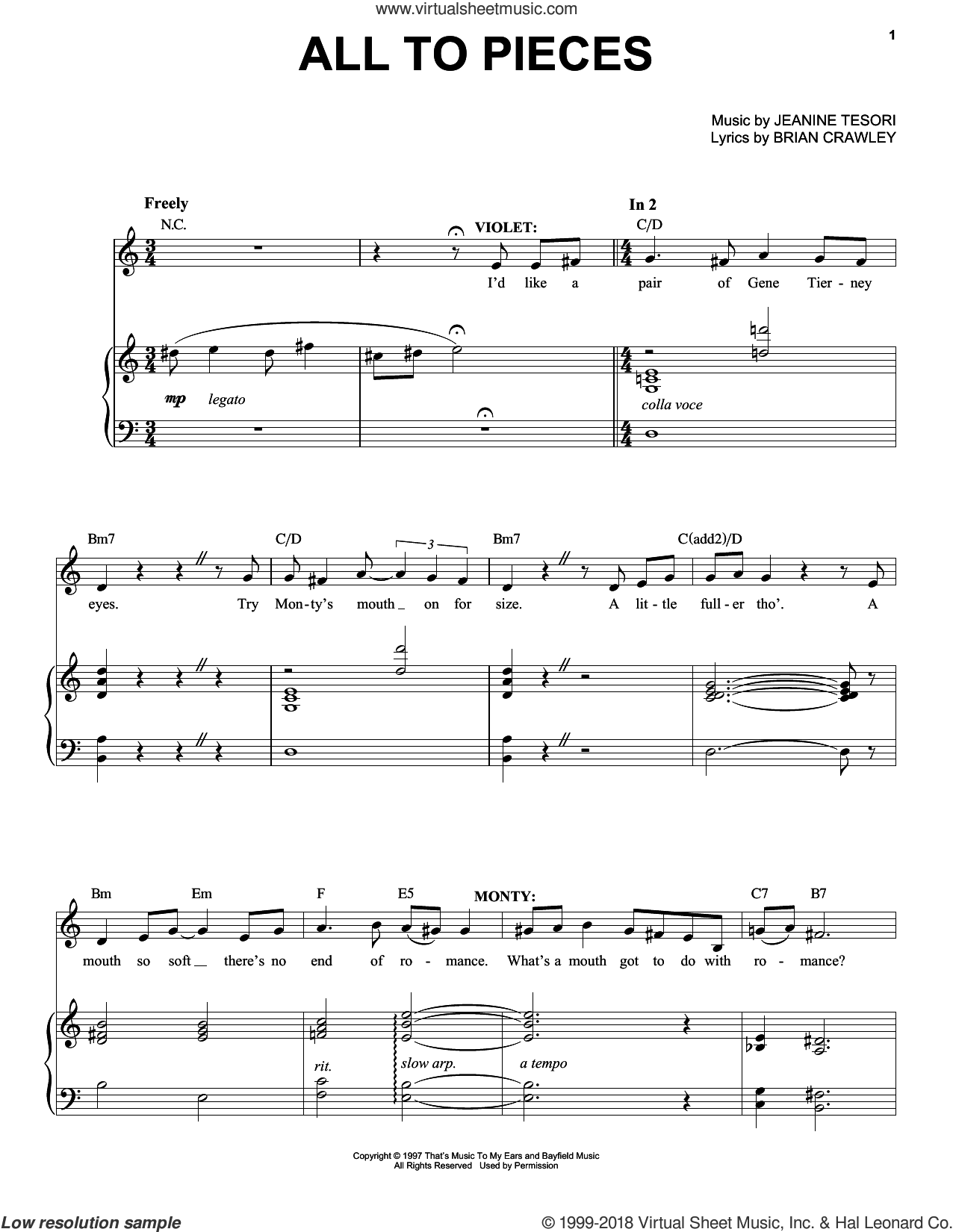 All To Pieces sheet music for voice and piano by Jeanine Tesori and Brian Crawley, intermediate skill level