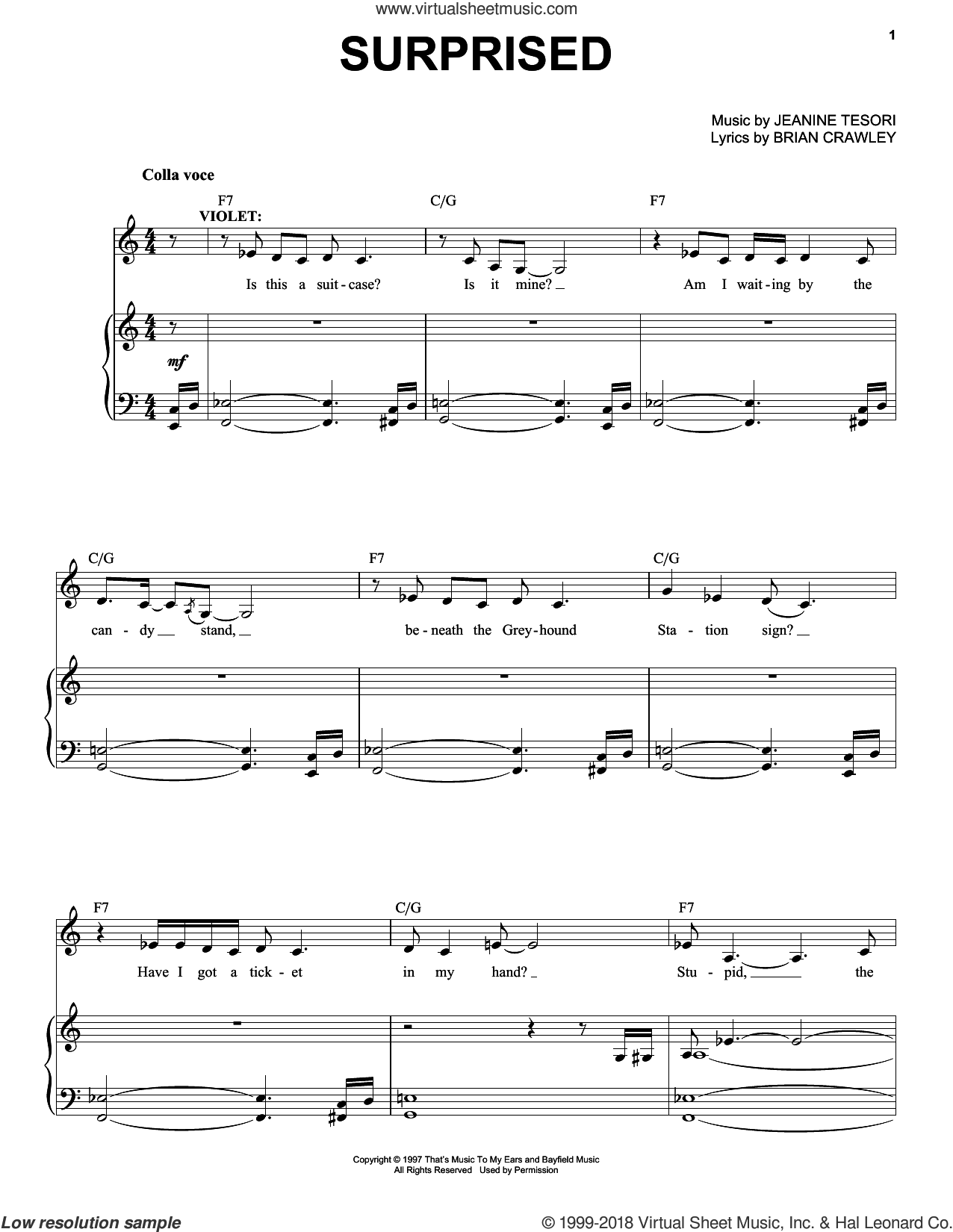 Surprised sheet music for voice and piano by Jeanine Tesori. Score Image Preview.