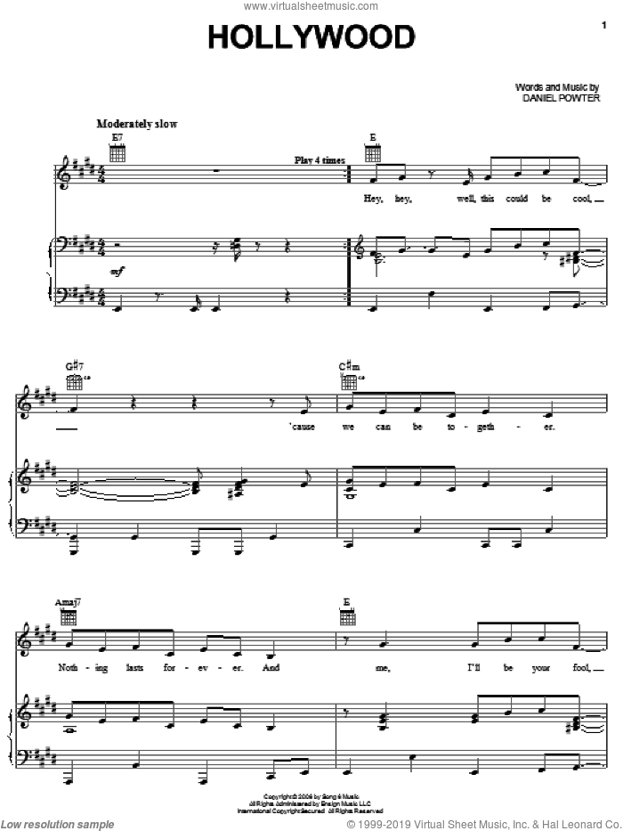 Hollywood sheet music for voice, piano or guitar by Daniel Powter, intermediate skill level